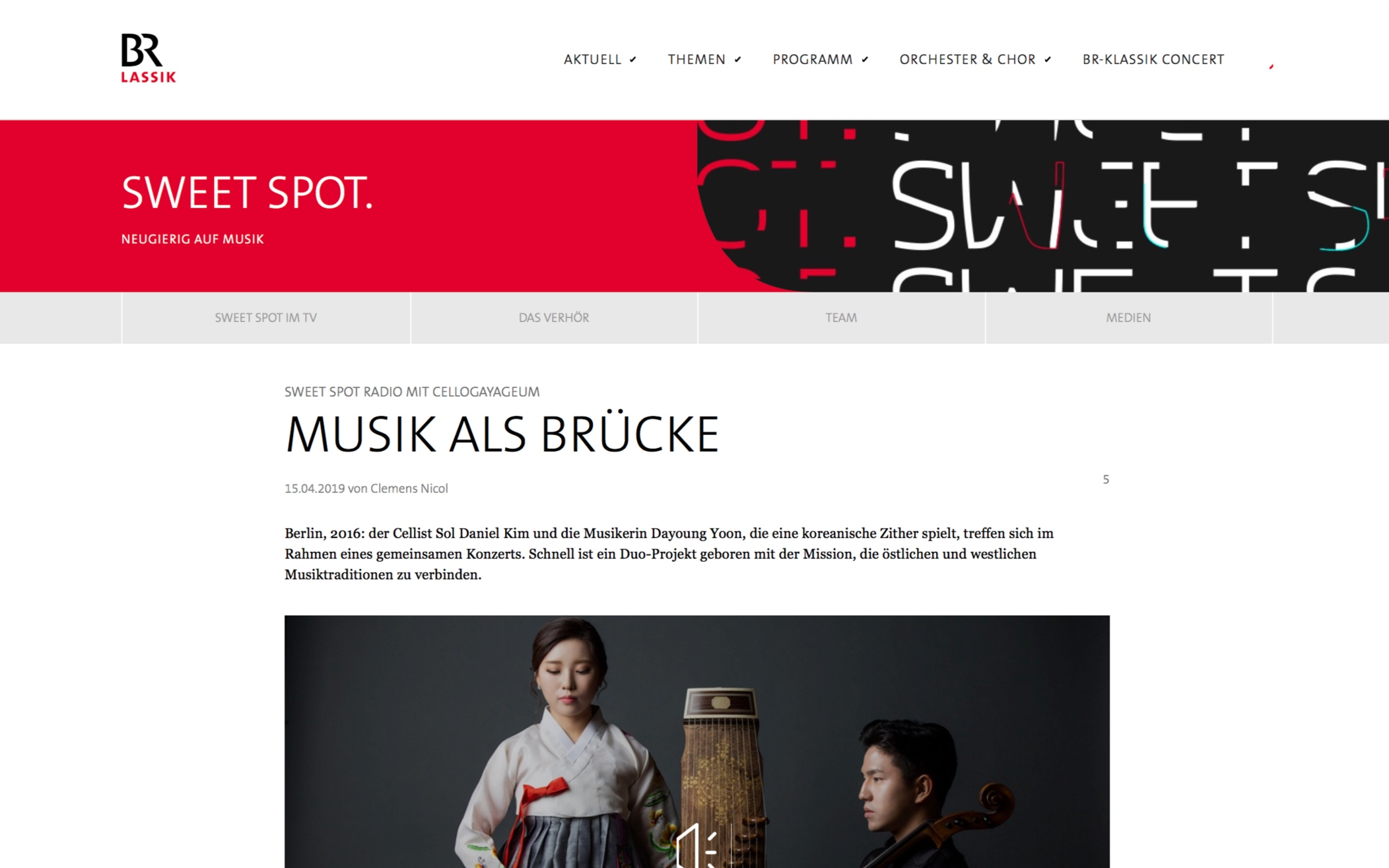 Online Article & Podcast [German]   A live interview and performance at <Sweet Spot> of the Bavarian Broadcasting station - Bayerischer Rundfunk BR.  by Clemens Nicol - 15.04.2019