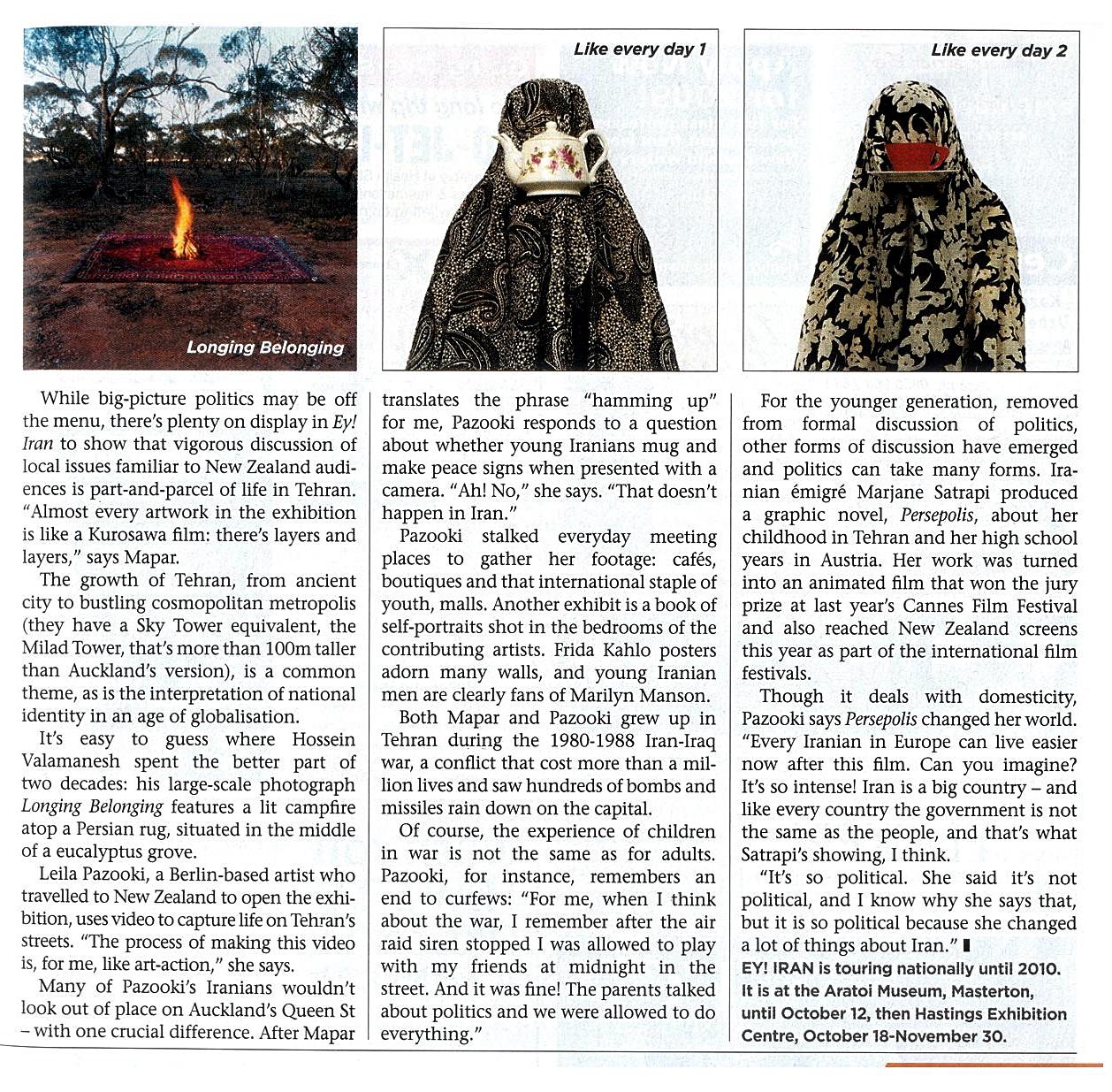 Eye on Iran article written by Matt Nippert for the New Zealand Listener