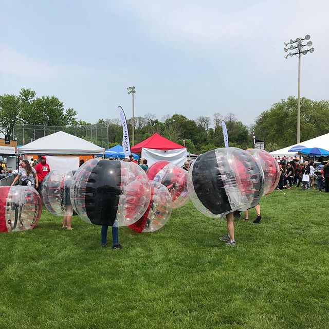 KNOCKERBALL is on!!! Get in the ball and have a good time #streetsvilleliving #breadandhoneyfestival #knockerball #bnhfest