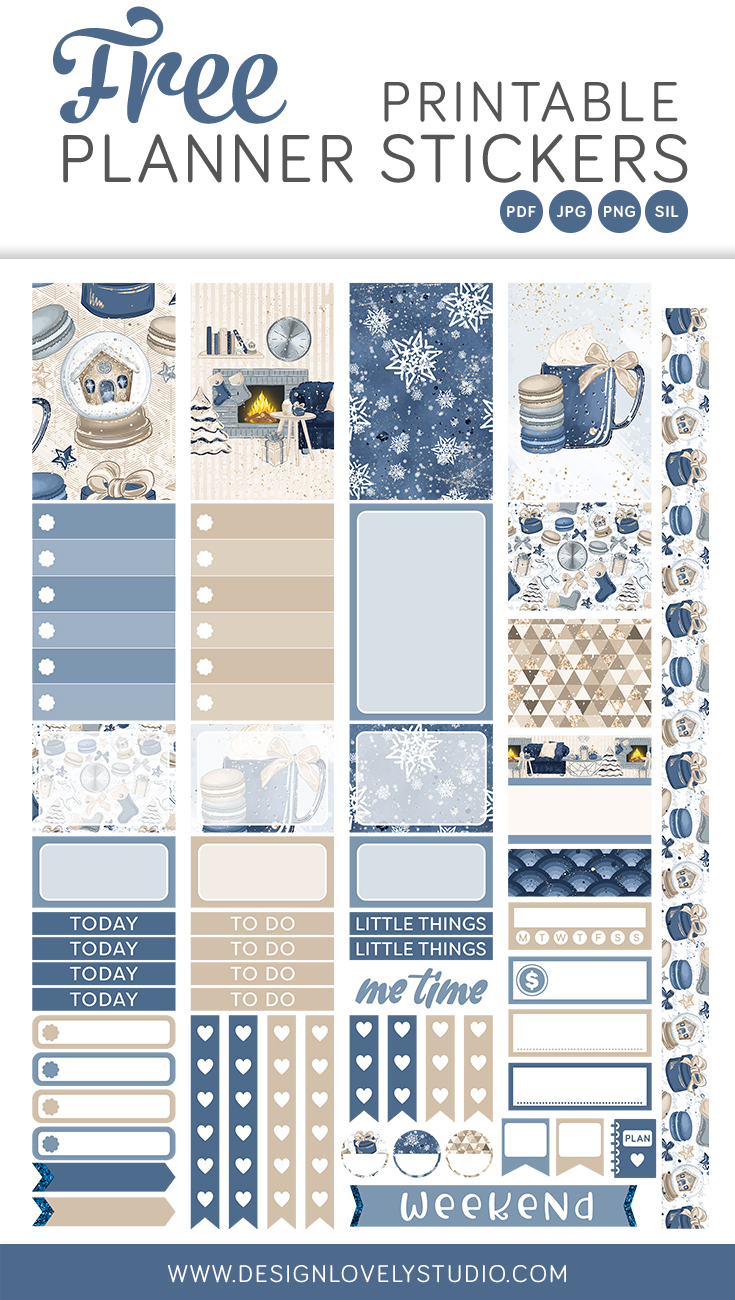 Winter Free Printable Planner Stickers Kit