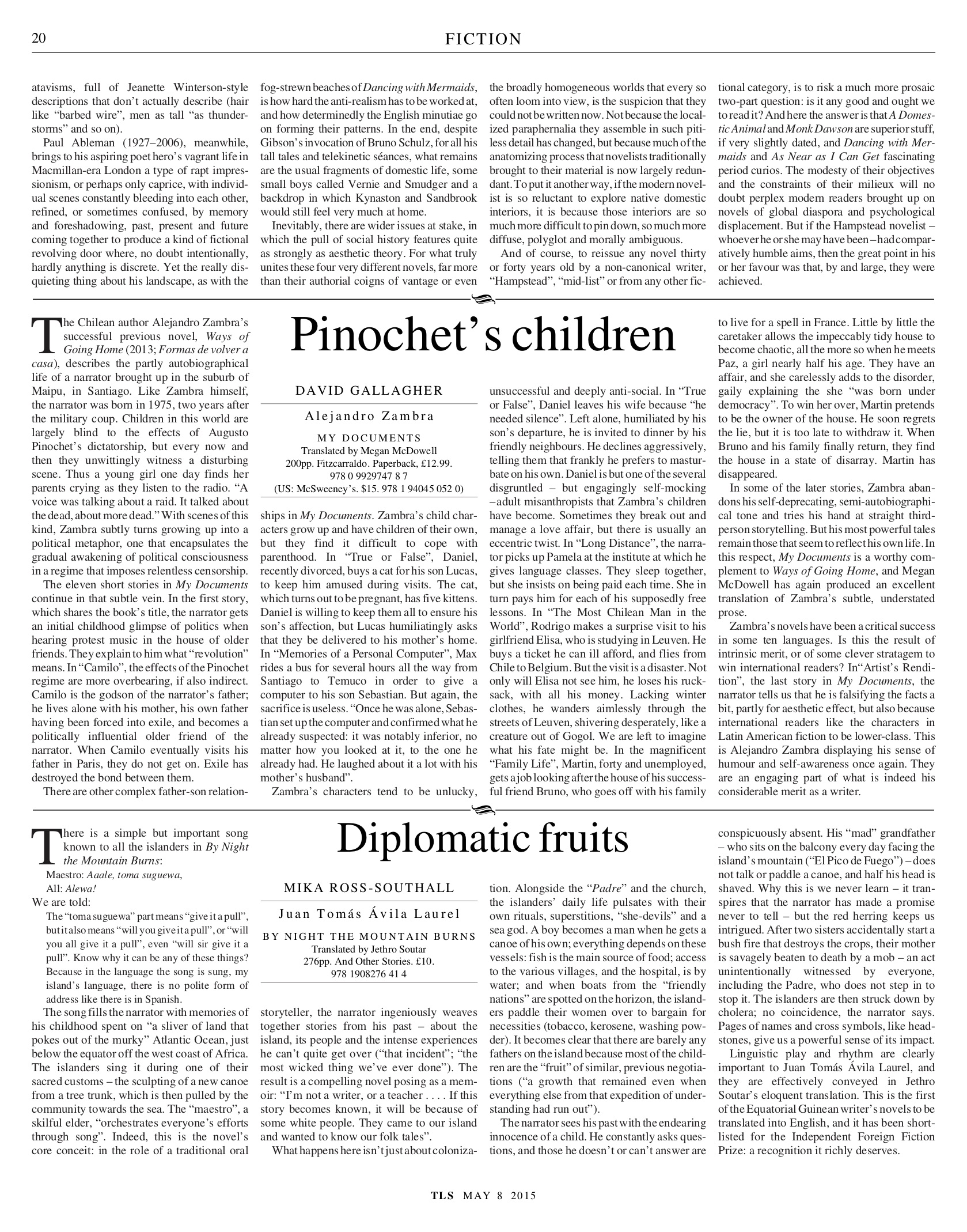 Diplomatic fruit, Published in The Times Literary Supplement, May 8, 2015