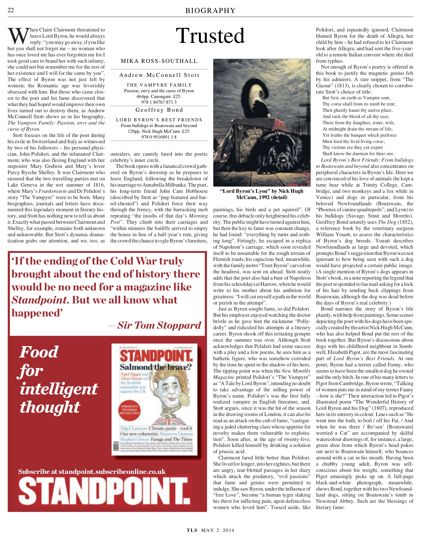 Trusted, Andrew McConnell Stott, Published in The Times Literary Supplement, May 2, 2014