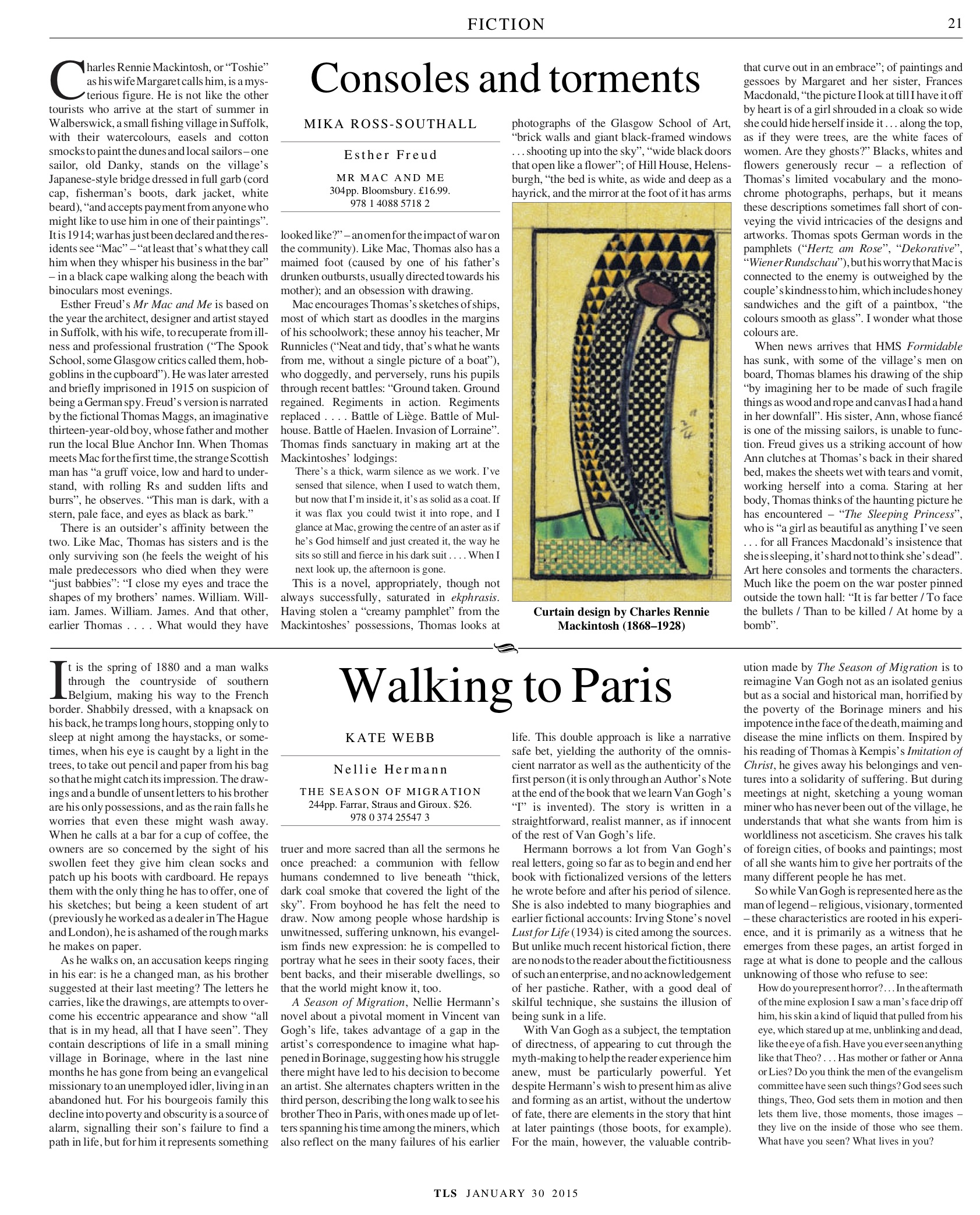 Consoles and torments, Esther Freud, Published in The Times Literary Supplement, January 30, 2015