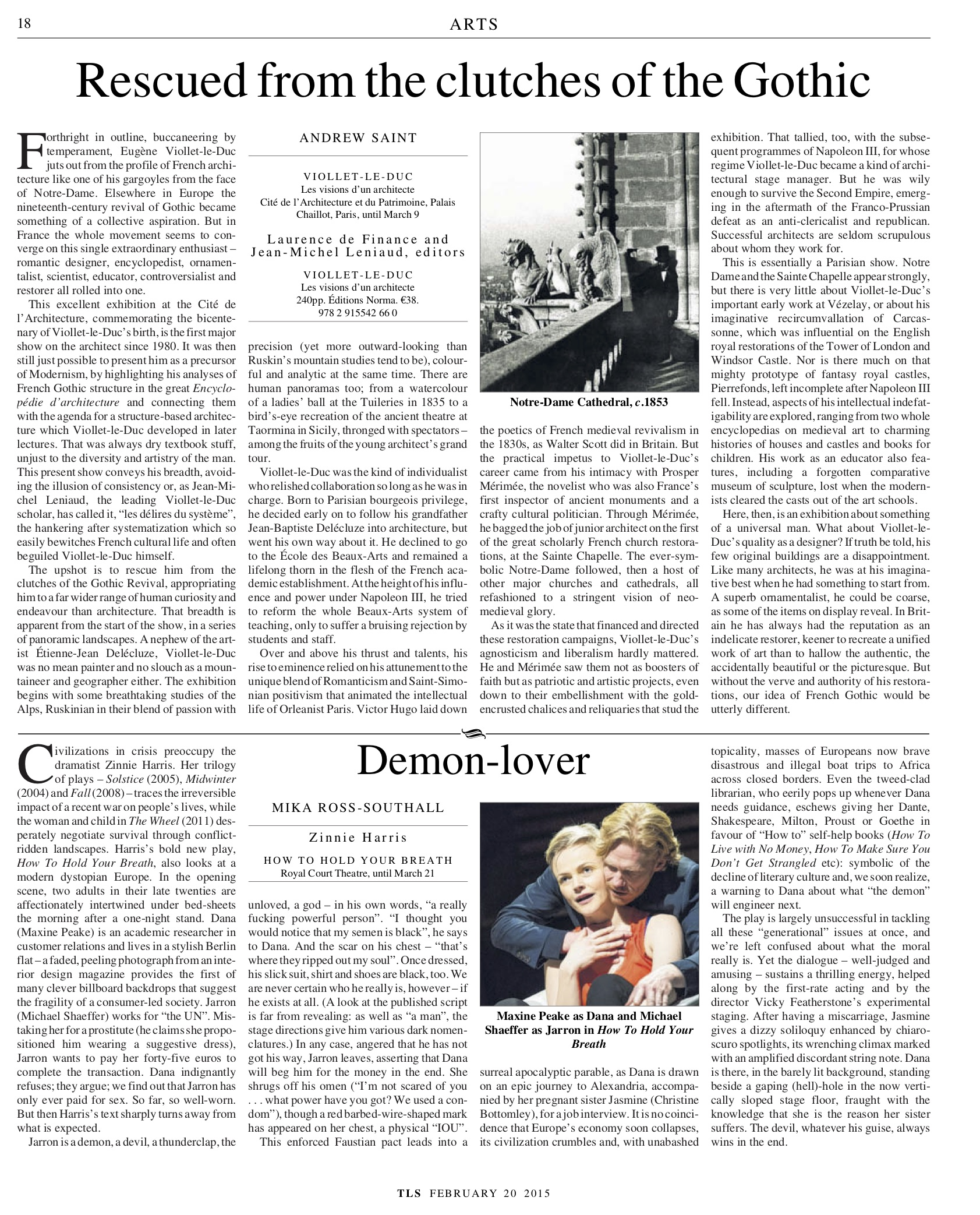 Demon-lover, Zinnie Harris, Published in The Times Literary Supplement, February 20, 2015