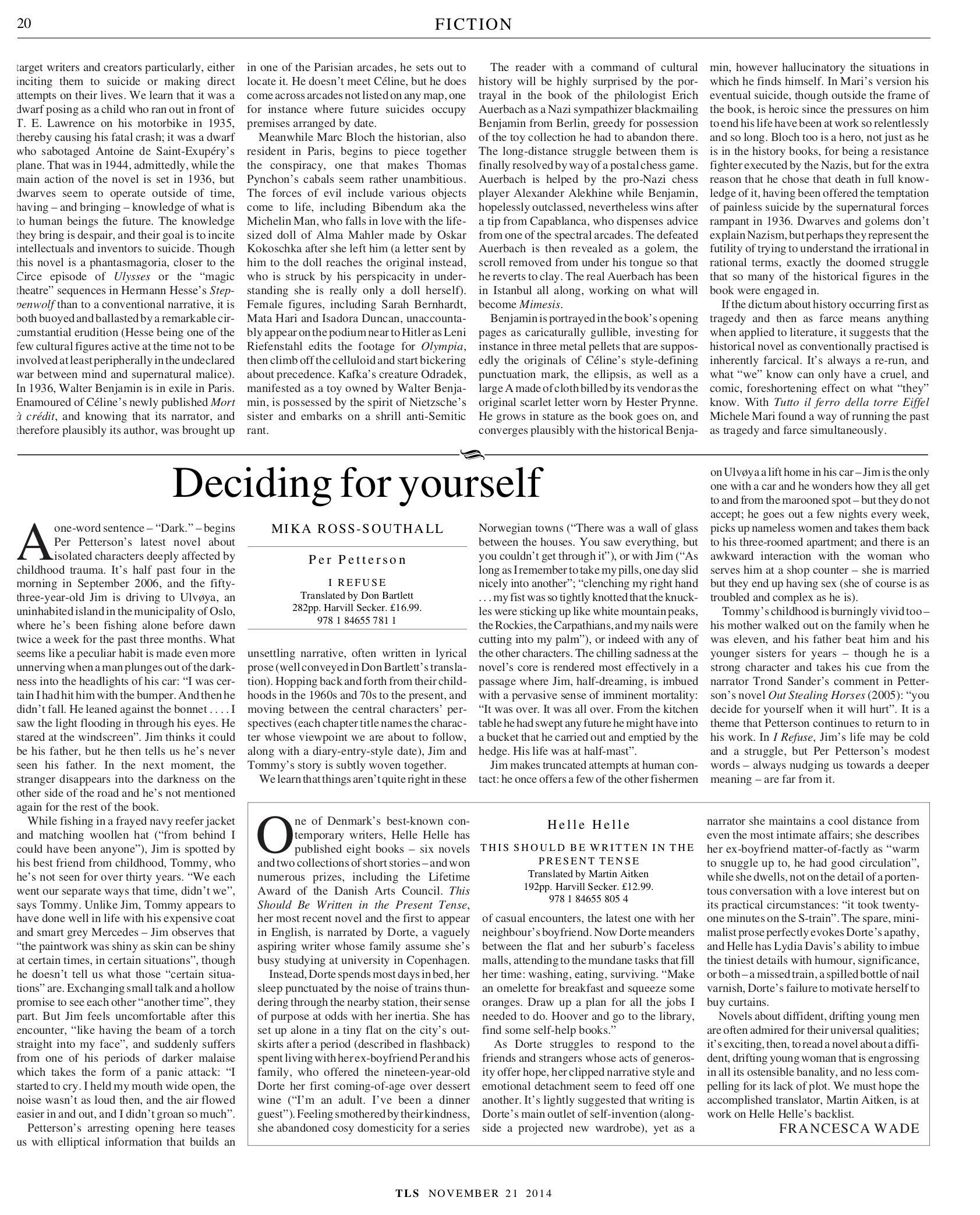 Deciding for yourself, Per Petterson, Published in The Times Literary Supplement, November 21, 2014