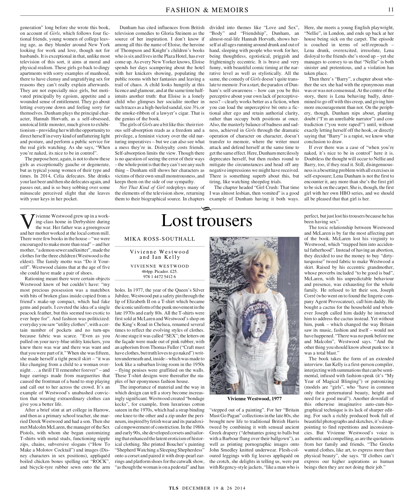 Lost trousers, Vivienne Westwood and Ian Kelly, Published in The Times Literary Supplement, December 19 & 26, 2014