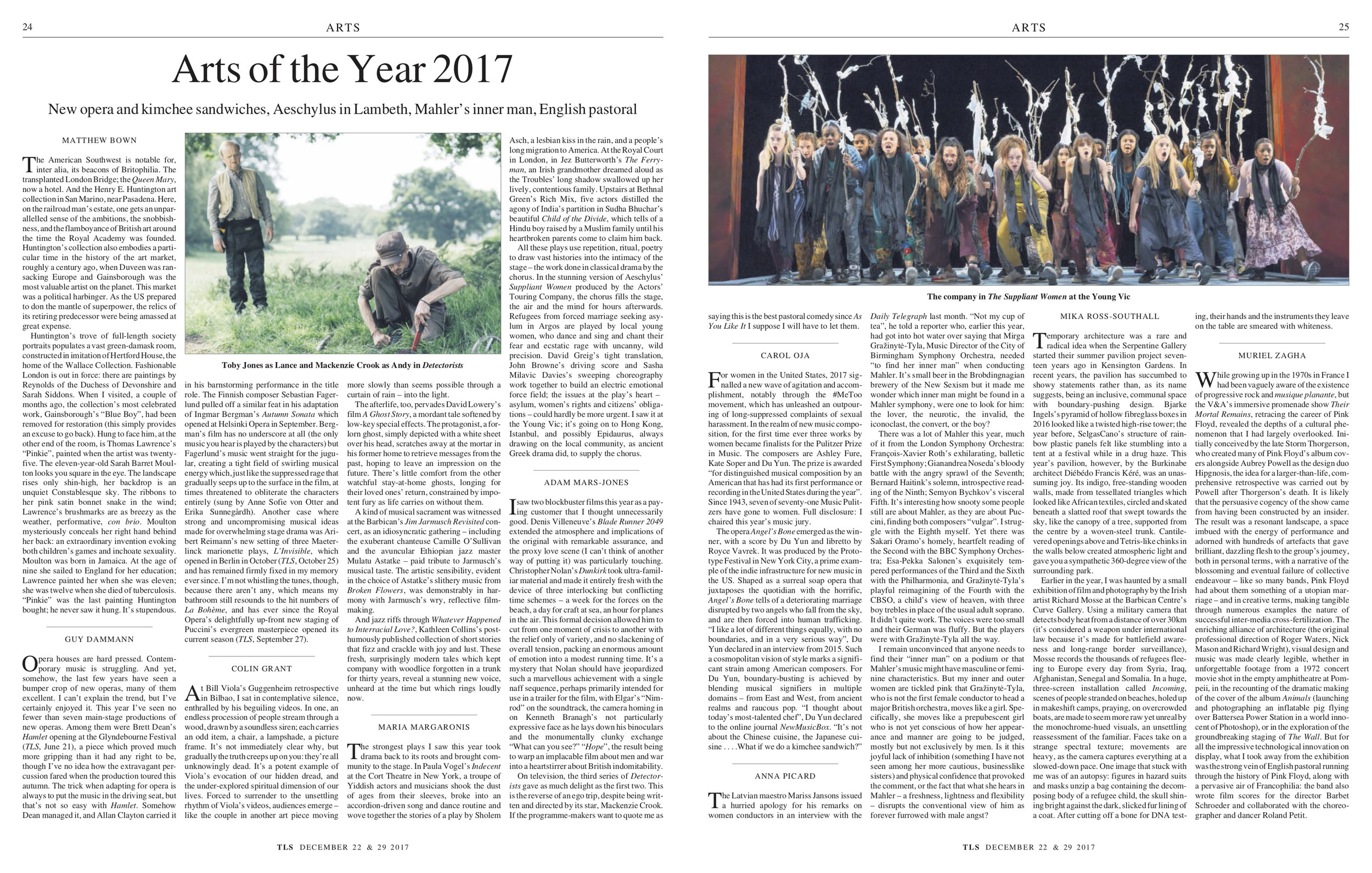 Arts of the Year 2017, Published in The Times Literary Supplement, December 22 & 29, 2017