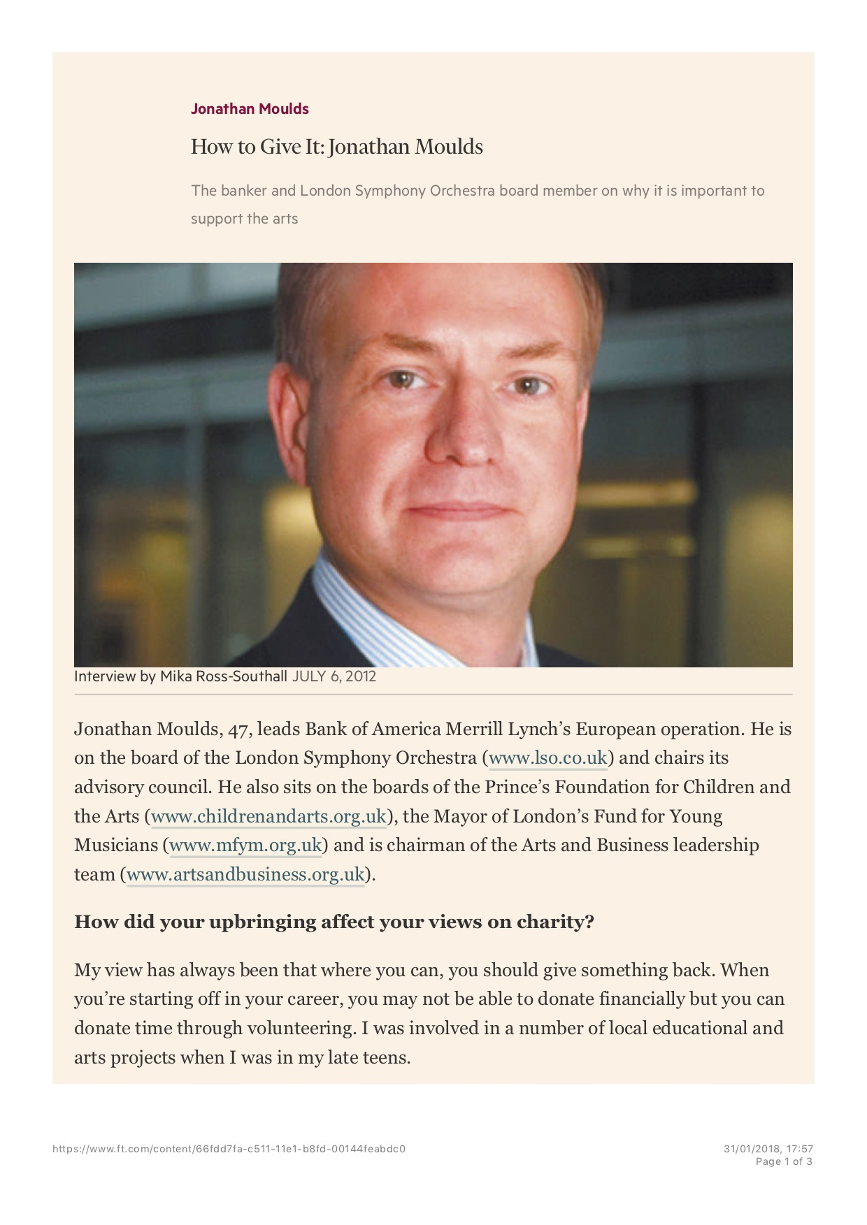 How to Give It: Jonathan Moulds, Published in the Financial Times Weekend Life & Arts (print), July 6 2012