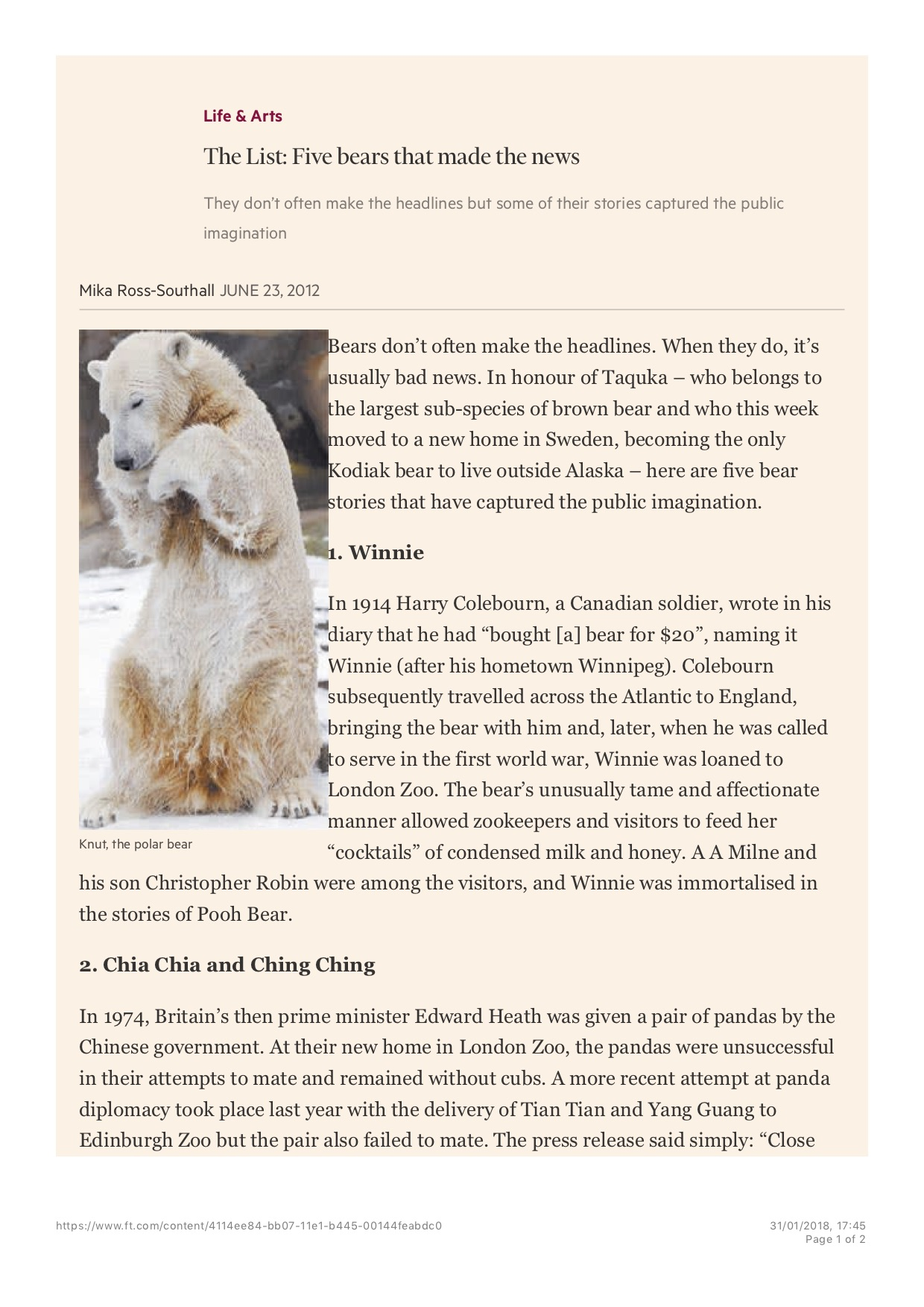 The List: Five bears that made the news, Published in the Financial Times Weekend Life & Arts (print), 23 June 2012