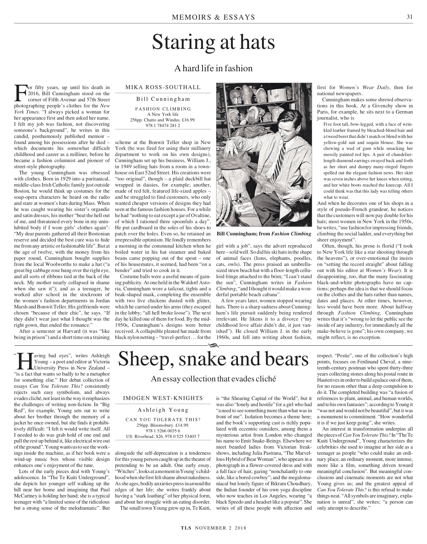 Staring at hats, Published in The Times Literary Supplement (print & online), November 2, 2018