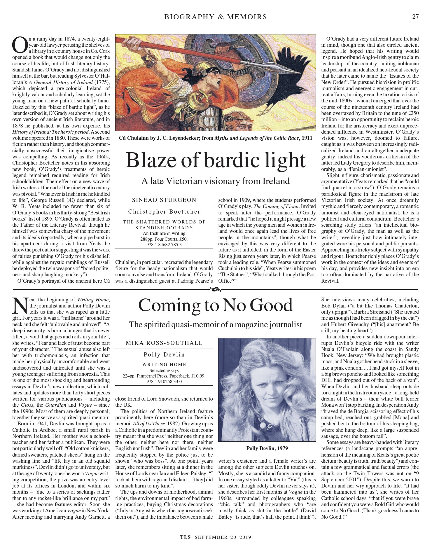 Coming to No Good, Published in The Times Literary Supplement, September 20, 2019