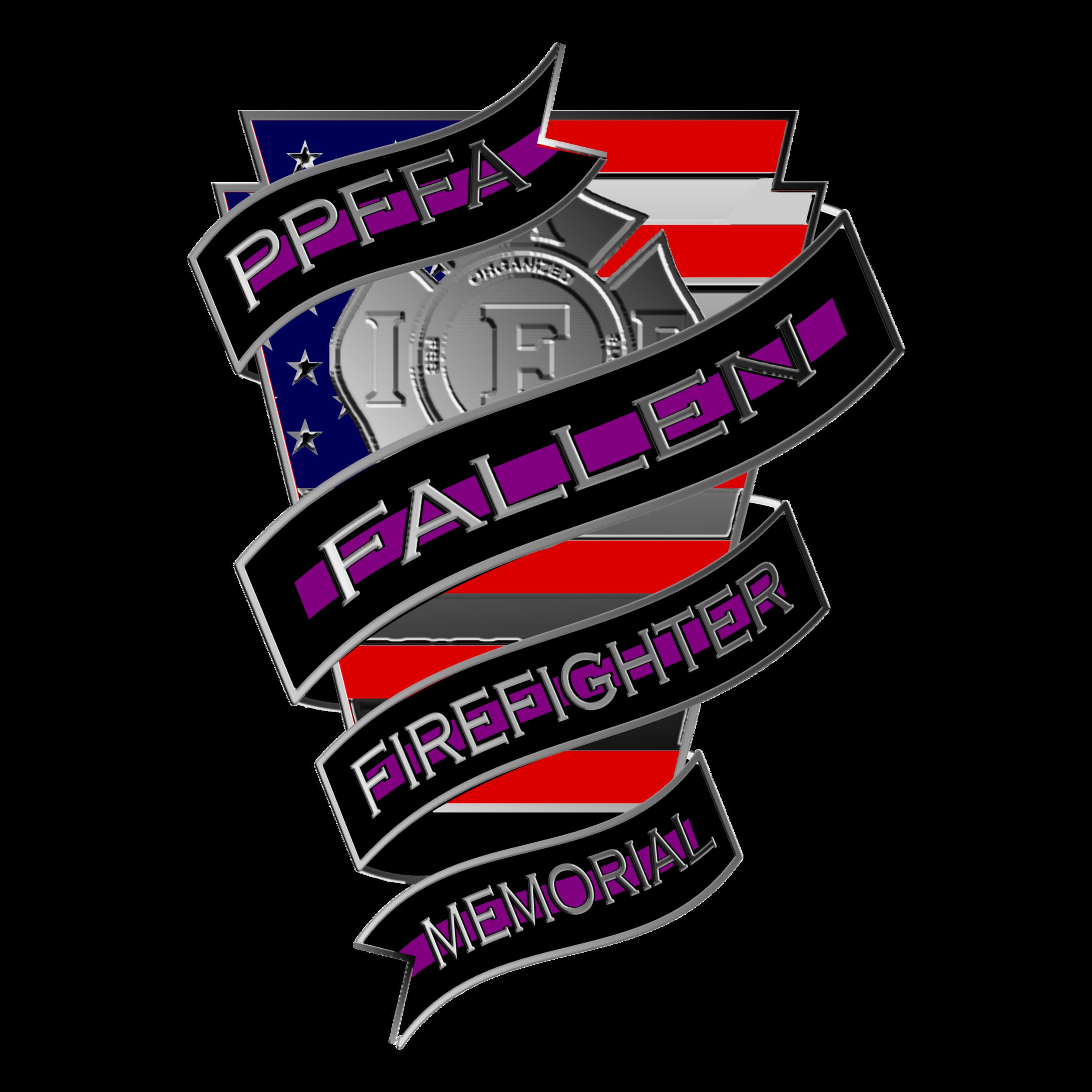 Keystone Fallen FF  American Flag Keystone with silver IAFF and PPFFA Fallen Firefighter memorial bands