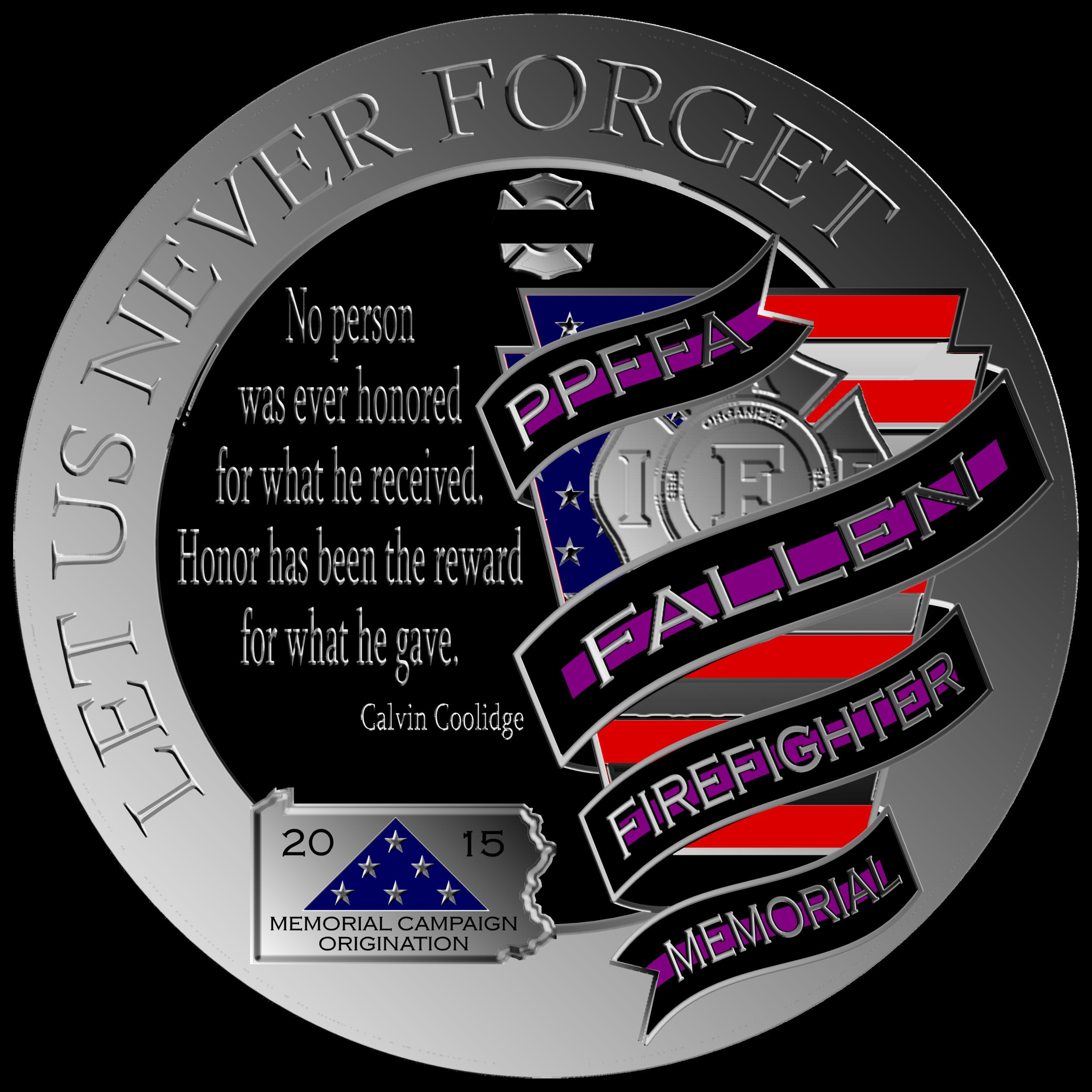 "Round Memorial Logo  Round ""Let Us Never Forget"" Memorial Logo"