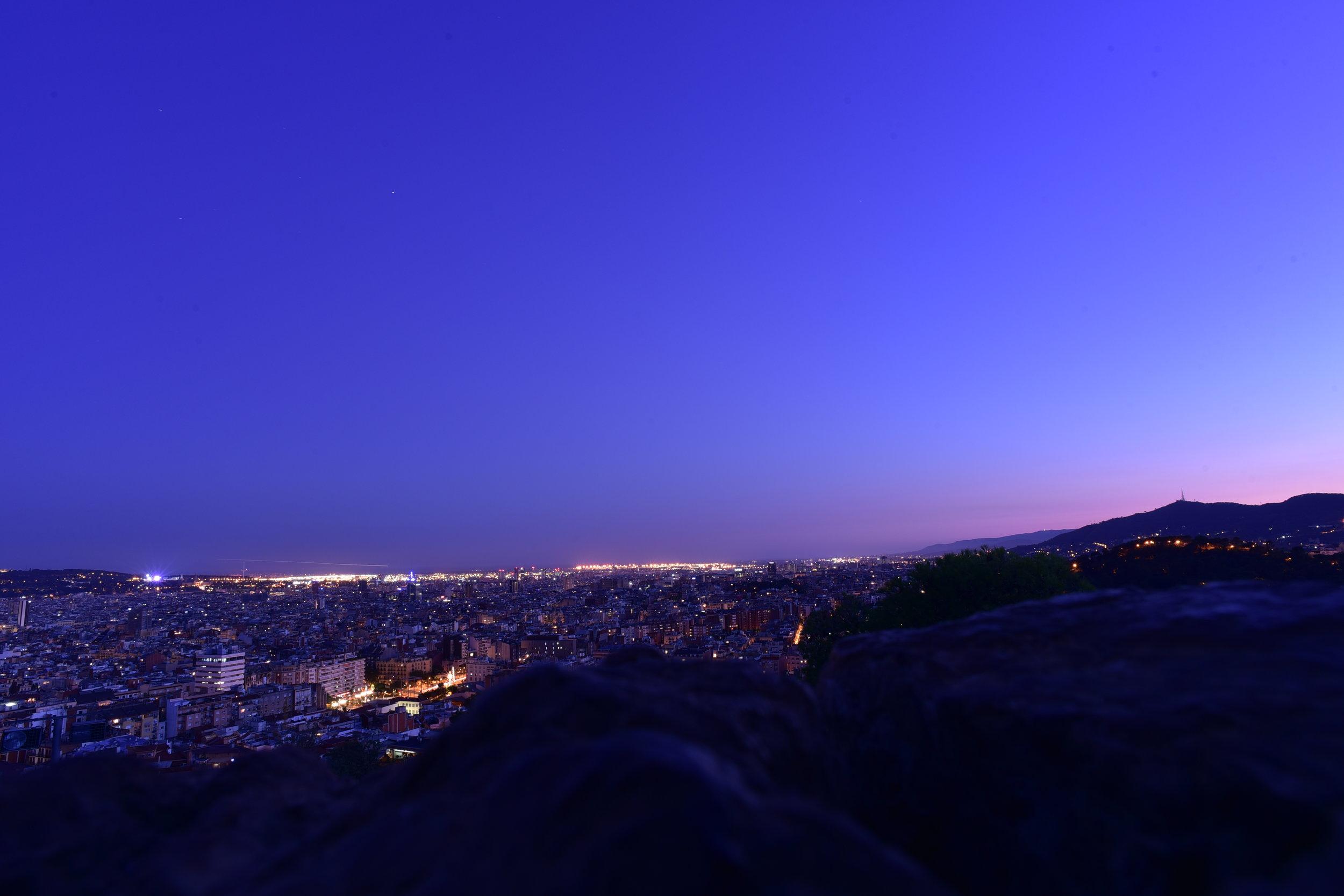 Nightfall at Turó de les Tres Creus