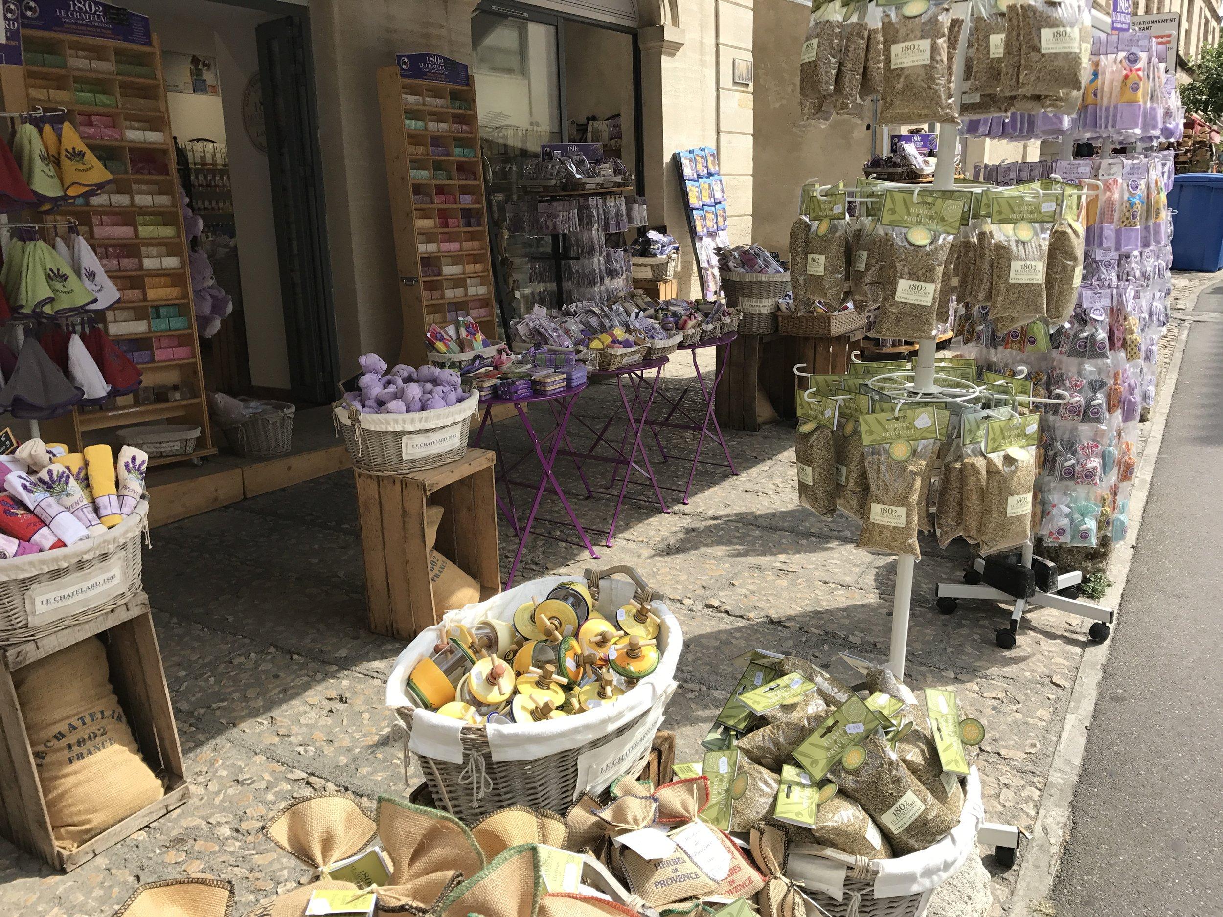Lavender goods sold near Le Palais des Papes in Avignon