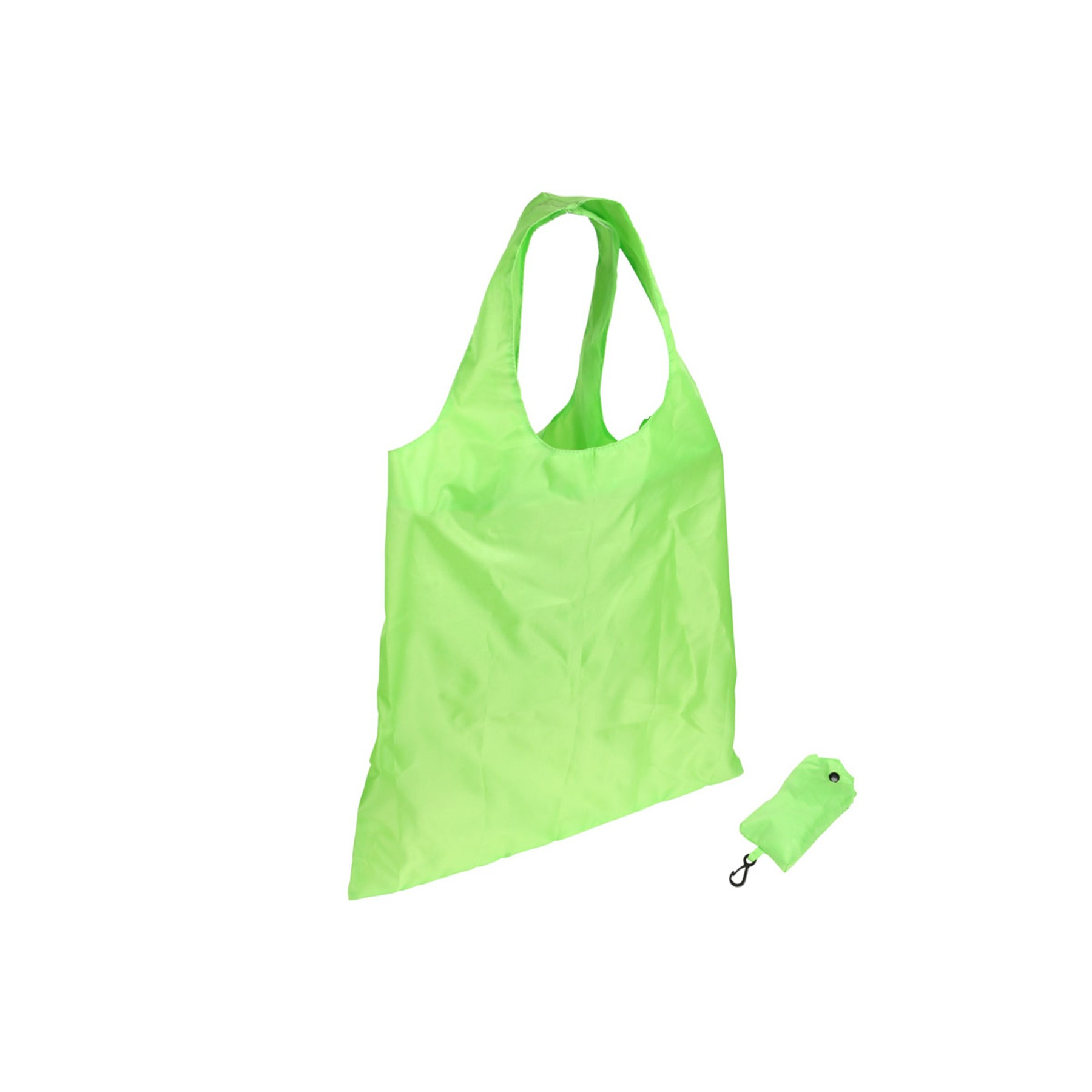 "Spring Sling Folding Tote Bag  190T polyester, Folds conveniently into 5'' x 3'' pouch with snap & carabineer clip. O-shape dual carrying handles, Recyclable & reusable. Complies with CPSIA, Prop 65. 16.0"" W x 16.0"" H"