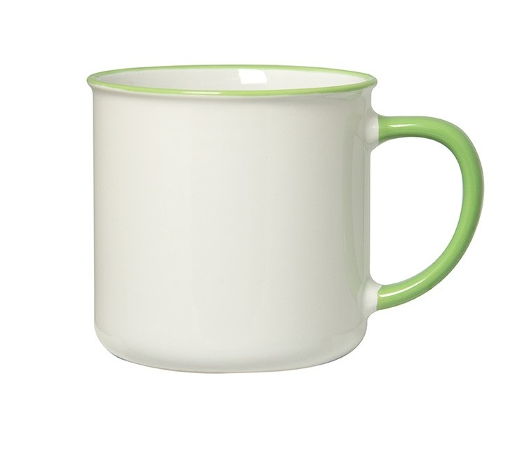 "Spring 350 Ml. (12 Oz.) Mug With Coloured Rim/Handle  All colours have a glossy white exterior - Your choice of coloured glossy rim and handle - Holds up to 350 ml. (12 oz.) - Microwave safe and dishwasher safe - FDA compliant . 3.375"" H x 3.5"" Diameter"