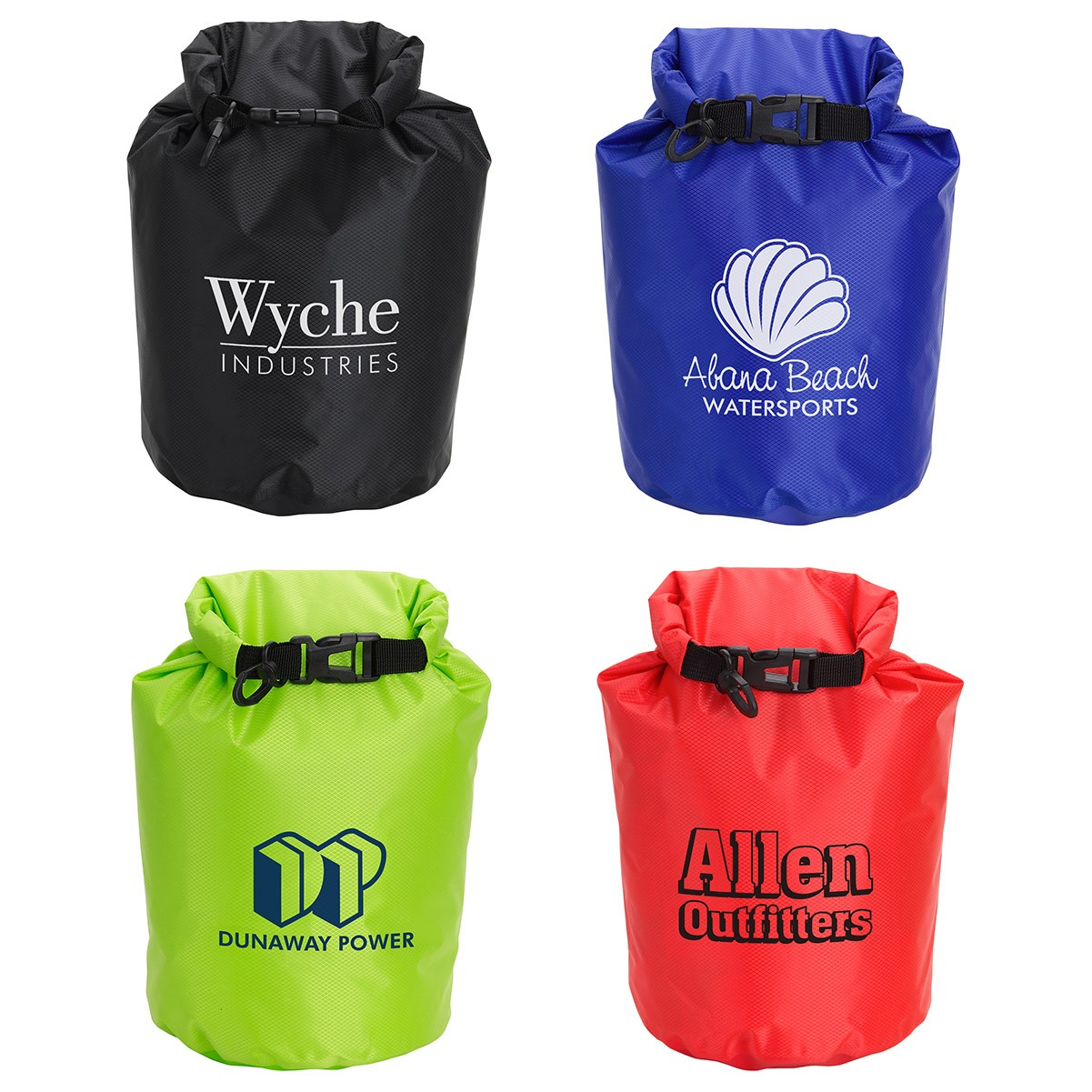 "5 Liter Waterproof Gear Bag  Constructed from 210T polyester grid cloth, Roll down top of bag and buckle ends together for a waterproof seal, Includes carabineer clip. Choose from 2 sizes. Complies with CPSIA, Prop 65. 10.5"" W x 14.0"" H"