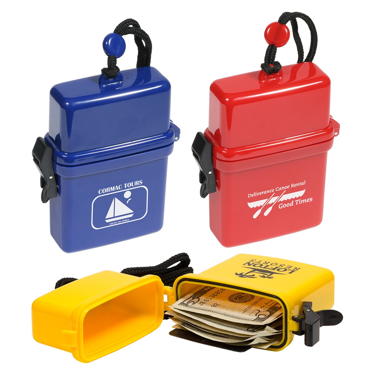 "Waterproof Storage Case  Protects valuables while near water Includes rugged lanyard Secure clasping latch. Complies with Prop 65. 4.75"" L x 3.25"" W x 1.25"" H"