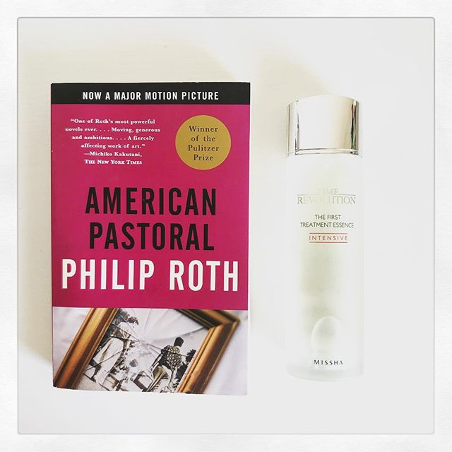 """The book that introduced me to Philip Roth. I loved this story about a New Jersey family whose lives are torn apart when they're only daughter blows up a local store in the name of political protest. Set in the 1960s, high schooler Merry strongly opposes the """"American way,"""" standing against the Vietnam War and racial injustice.  She believed it was time for a revolution. * * * This treatment essence comes from one of my favorite K-beauty brands, @missha.official. Not only does it brighten and moisturize skin, but it also seriously reduces redness. It may look fancy, too, but you can get it on Amazon for under $30! * * * * * #beauty #books #booksandbeauty #beautgram #bookstagram #philiproth #americanpastoral #missah #kbeauty #bibliophile #bookworm #booklover #beautylover"""
