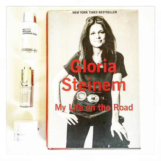 Naturally, I paired Gloria Steinem's book about her life traveling with my favorite travel-size products. She tells the many stories about her years traveling for work. But she doesn't do it because she has to, she does it because she loves it. Living in the road is second natural to her. * * * The first is a micellar water to remove makeup gently, the second is a preventative dry oil and the third is a balancing moisturizer that keeps my skin hydrated and supple.* * * * * #books #beauty #booksandbeauty #bookstagram #beautygram #traveling #gloriasteinem #bibliophile #booklover #memoir #travelsize