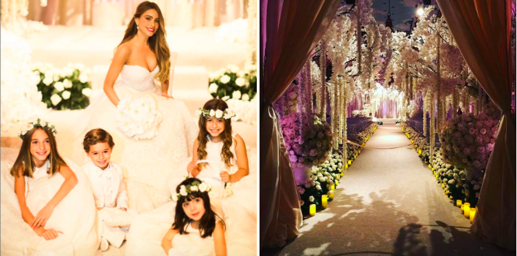 Photo by  Hello Magazine                                                            Photo by  Popsugar   Vergara posed for photos with sweet flower girls and a ring bearer before entering her lavish ceremony. Flowers decorated the venue from top to bottom.