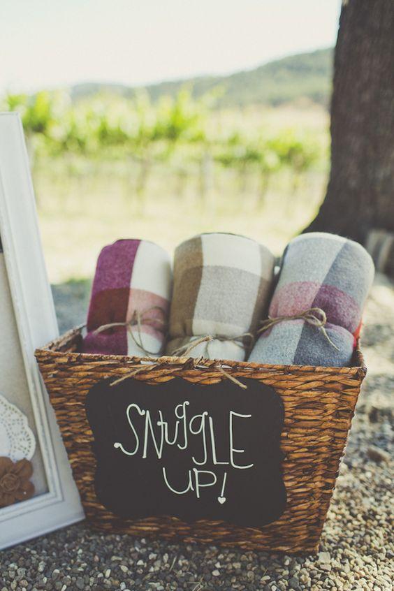 Blankets via  Bridal Musings .Photo by  Sarah Kathleen Photography .