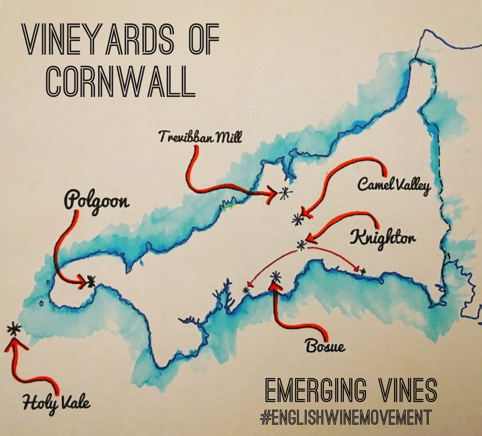 Map of Vineyards in Cornwall