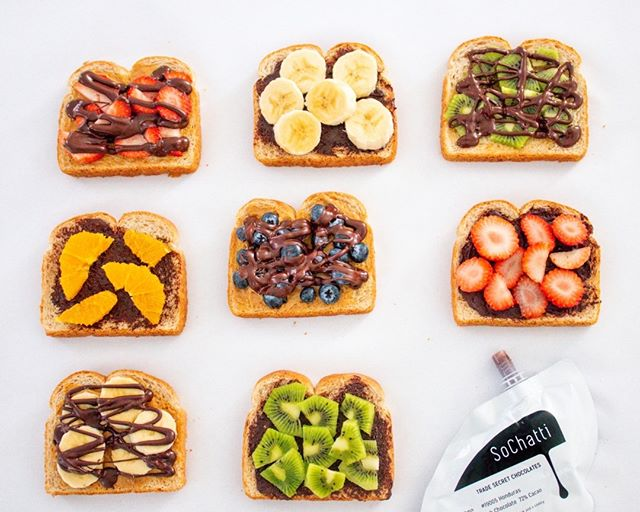 Breakfast toast! One of the many ways to enjoy SoChatti in the morning. Which fruit + SoChatti combo is your favorite breakfast toast recipe?⠀⠀⠀⠀⠀⠀⠀⠀⠀ A- Strawberry⠀⠀⠀⠀⠀⠀⠀⠀⠀ B- Kiwi⠀⠀⠀⠀⠀⠀⠀⠀⠀ C- Banana⠀⠀⠀⠀⠀⠀⠀⠀⠀ D- Blueberry⠀⠀⠀⠀⠀⠀⠀⠀⠀ E- Orange⠀⠀⠀⠀⠀⠀⠀⠀⠀ Tell us in the comments.⠀⠀⠀⠀⠀⠀⠀⠀⠀ *⠀⠀⠀⠀⠀⠀⠀⠀⠀ *⠀⠀⠀⠀⠀⠀⠀⠀⠀ *⠀⠀⠀⠀⠀⠀⠀⠀⠀ #madeinindiana #thatsdarlingmovement #theeverygirlcooks #chocolateobsession #nodairy #bhgfood #smallbatchchocolate #damnthatsdelish #foodwinewomen #veganfood #veganlife #halalfood #kosherfoodie #glutenfreevegan #glutenfreelife #glutenfreebaking #dairyfreelife #indygrammers #indyeats #igersindy #igersindiana #organicchocolate #veganchocolate #dairyfreechocolate #artisinalchocolate #sweeeeets #f52grams #f52food
