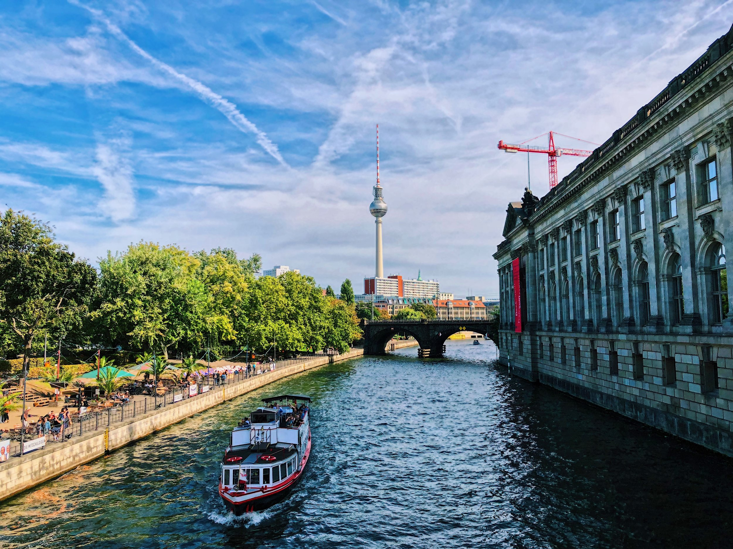 Museum Island sits next to the Spree river while the TV Tower looks on from East Berlin.