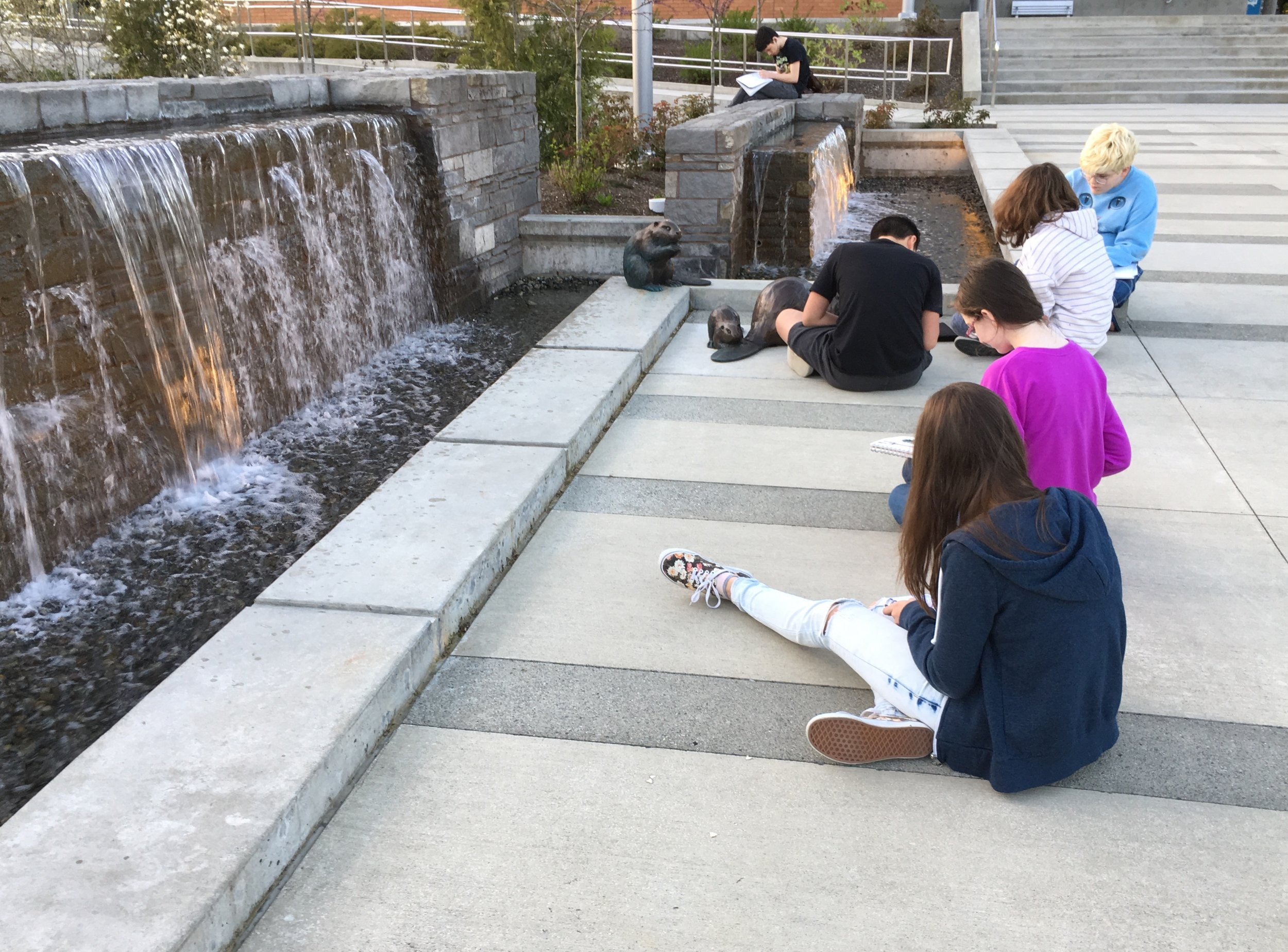 Teen Art Class sketching outside of Bothell's City Hall