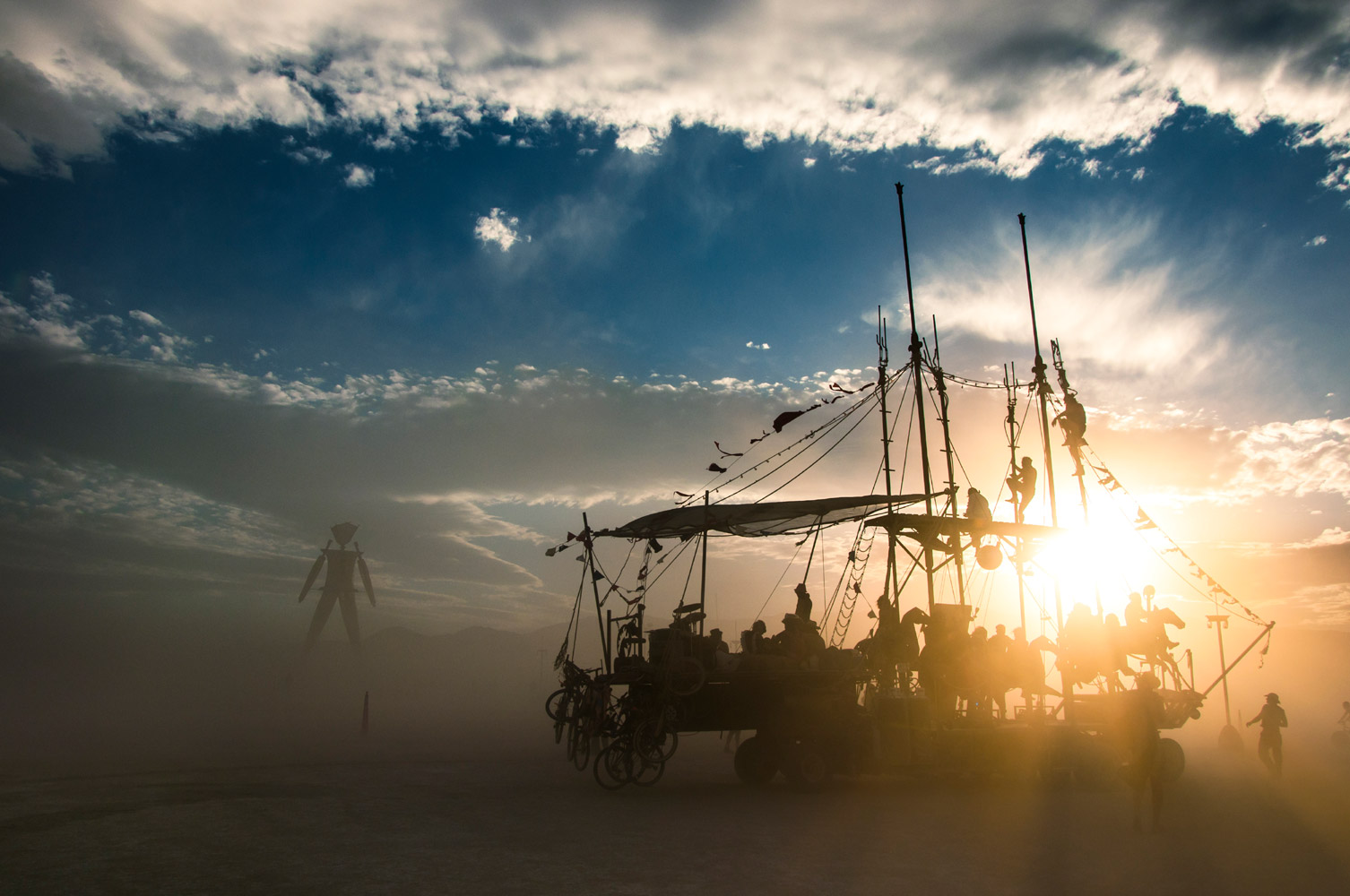 Sunset on the playa - Burning Man, Nevada, 2014