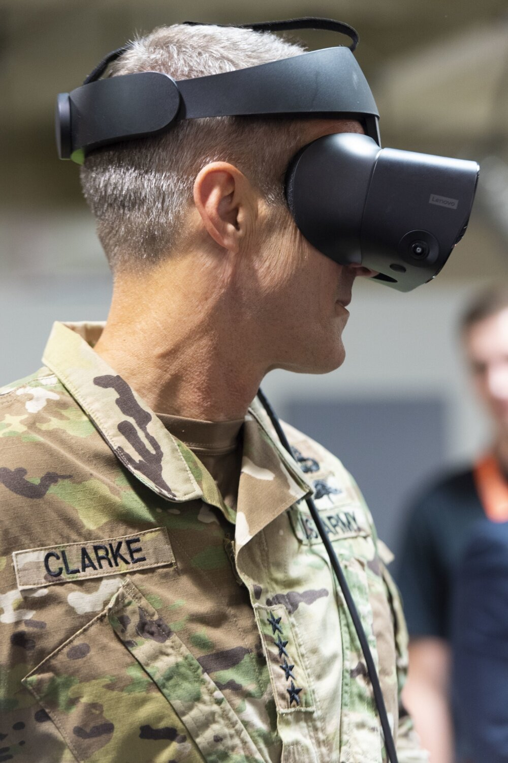 - TAMPA, FL, UNITED STATES09.25.2019Photo by Master Sgt. Barry LooU.S. Special Operations CommandGen. Richard D. Clarke, commander, U.S. Special Operations Command, samples virtual reality technology before the USSOCOM Data Engineering Lab grand opening ceremony in Tampa, Fla., Sept. 25, 2019. The lab is an open-concept work environment and is the Command's outpost of a larger DoD modernization eco-system, whose goal is to foster collaboration between Special Operations Forces professionals, data scientists, data architects, software developers, systems integrators and technologists. (Photo by U.S. Air Force Master Sgt. Barry Loo)