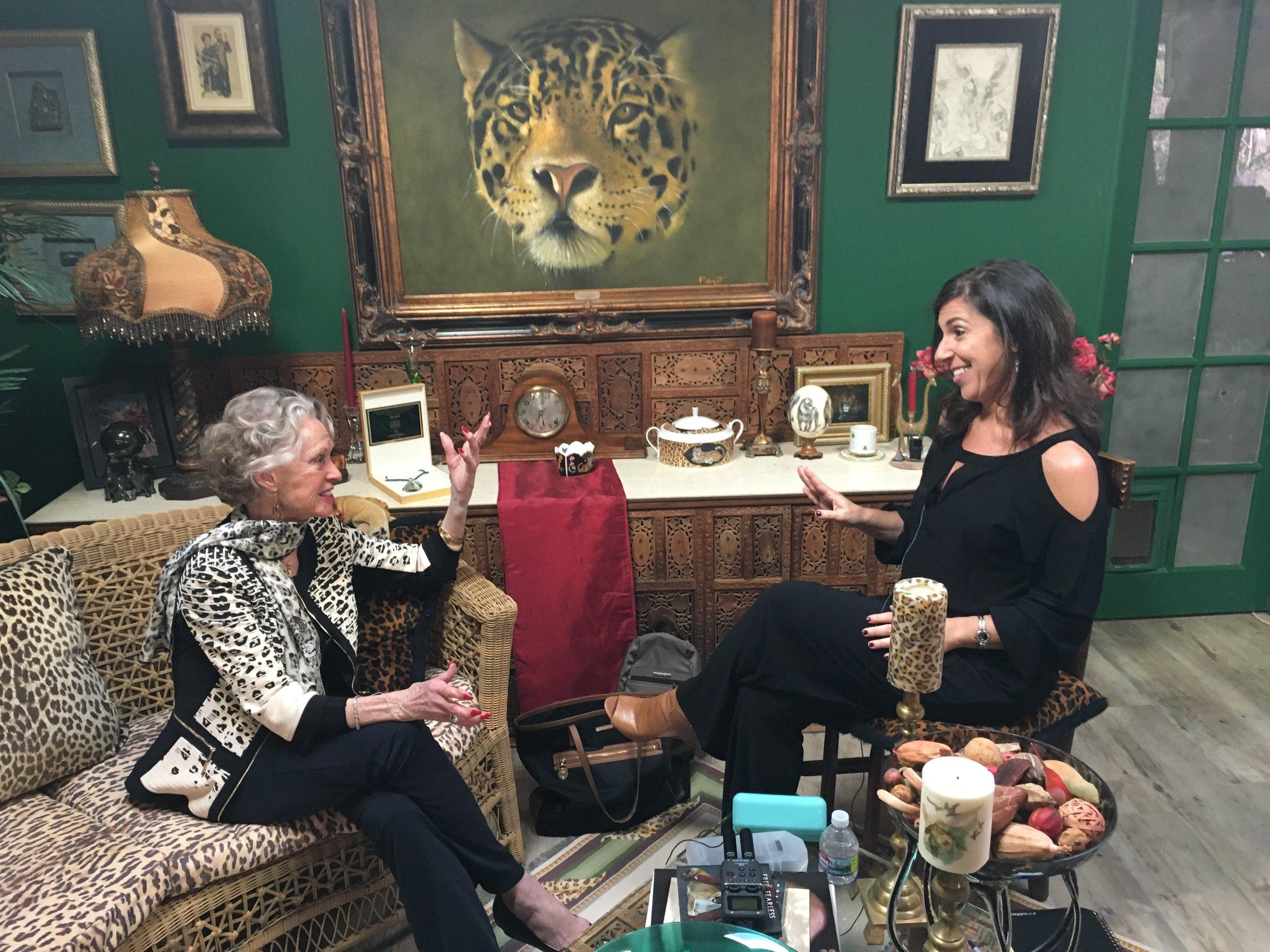Tippi Hedren and Kara talking at Shambala