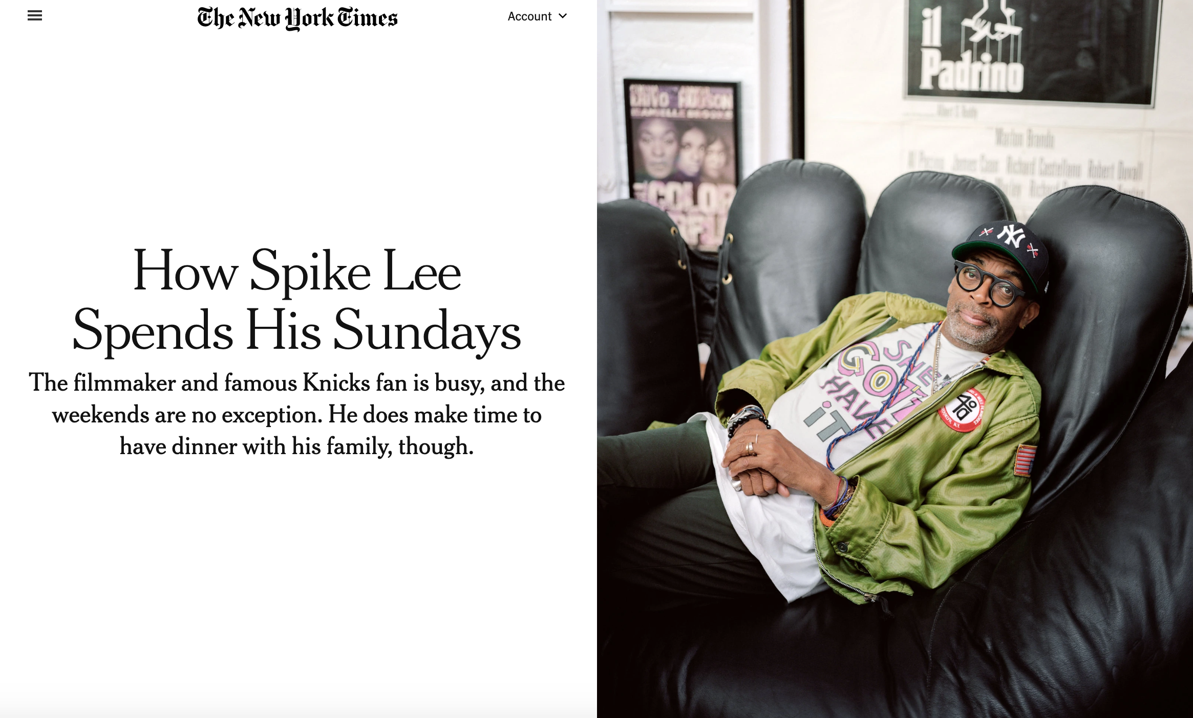 My newest piece in The New York Times  Sunday Routine with Spike Lee  By Kara Mayer Robinson