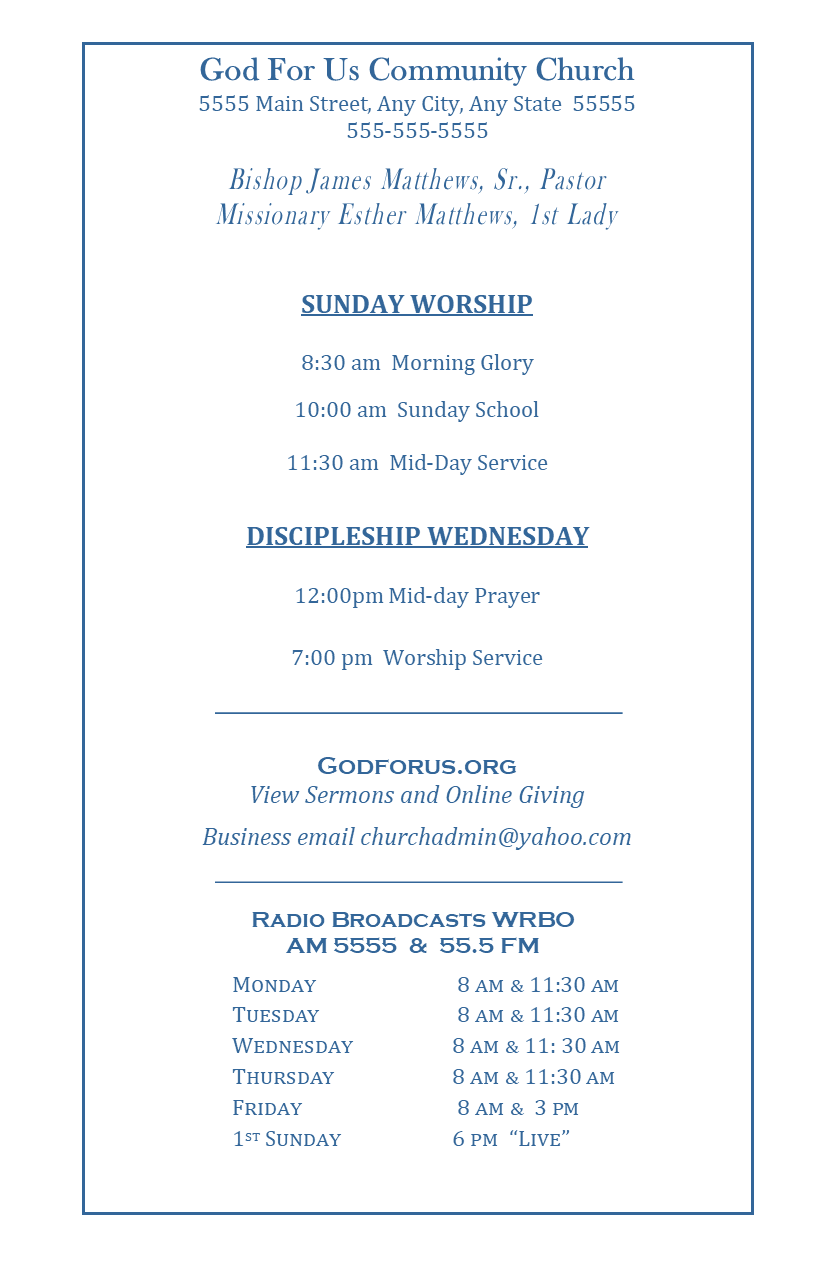 Chruch Program Page 2 of 4
