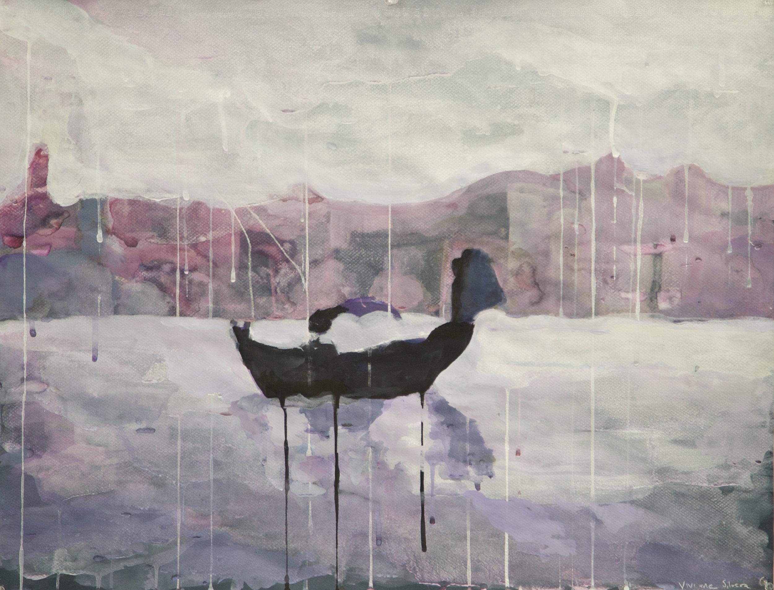 "The Boat Dream 25.5"" x 19.5"" Gouache on paper 2014"