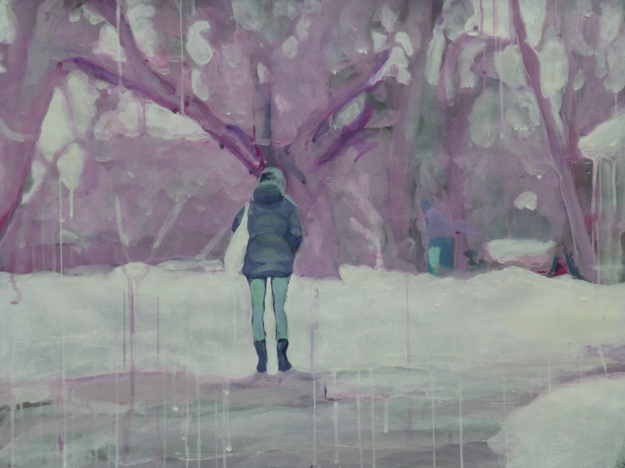"On My Way 25.5"" x 19.5"" Gouache on paper 2014"