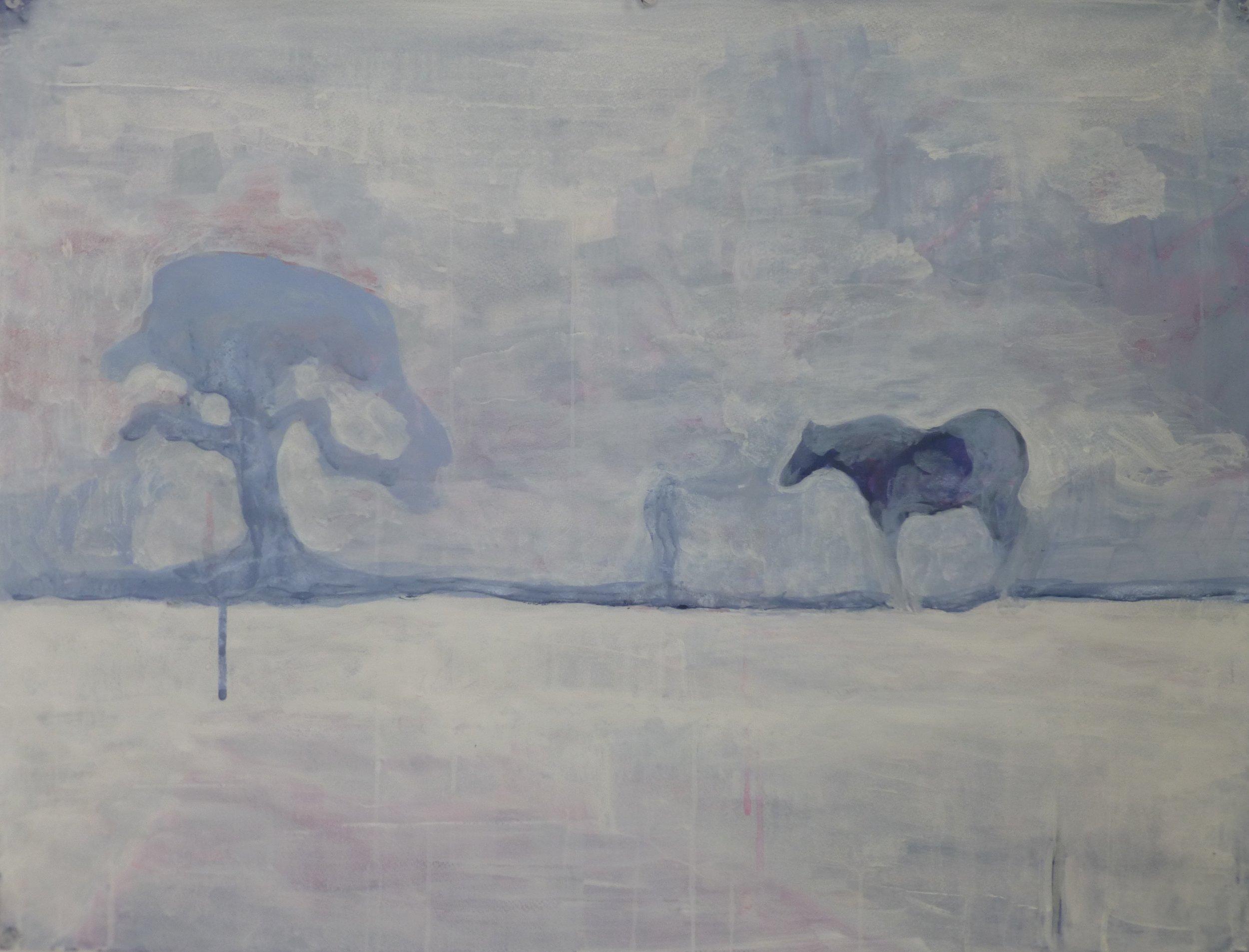 """Blue Horse 25.5"""" x 19.5"""" Gouache on paper"""