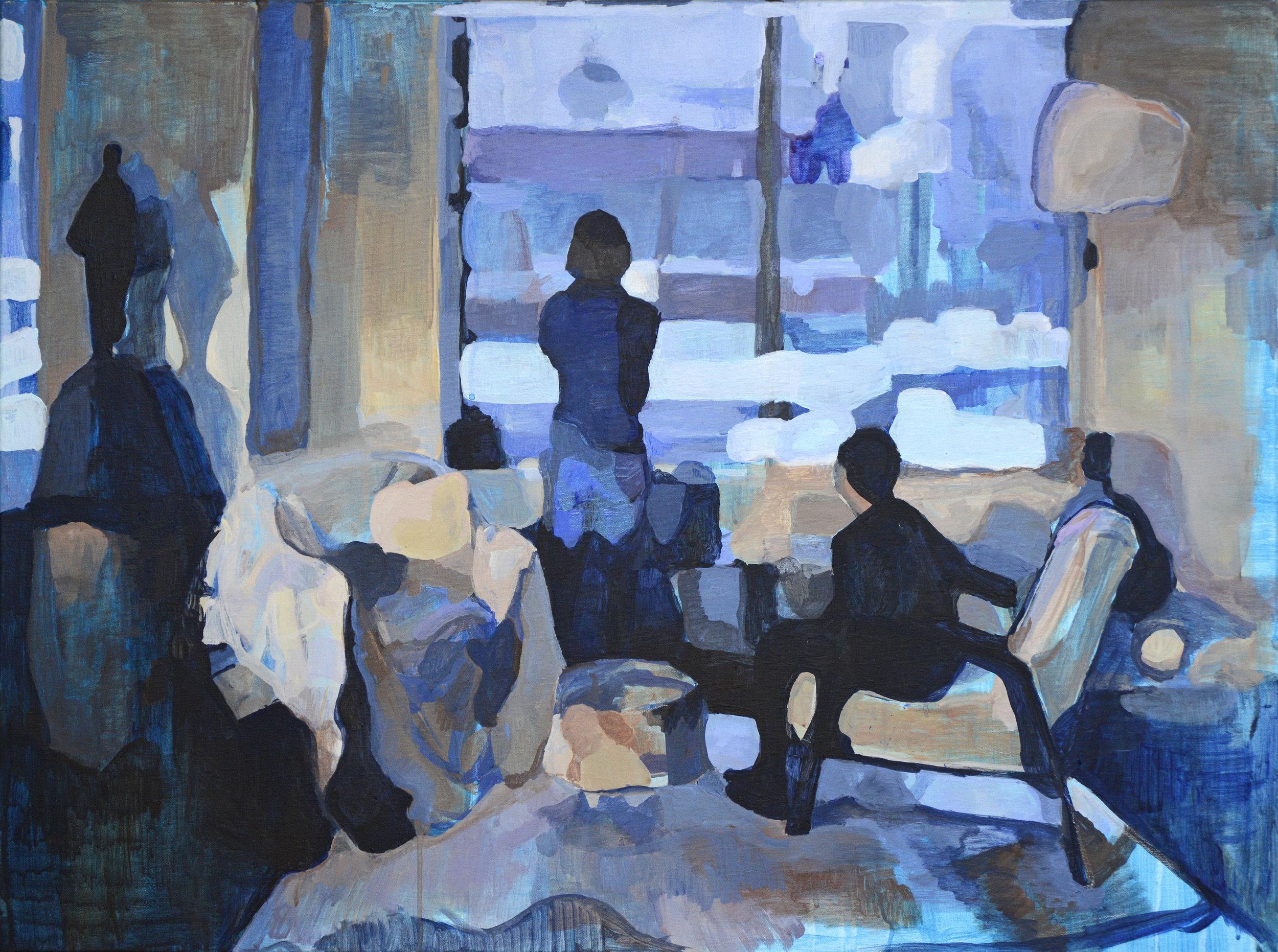 "Through The Window 40"" x 30"" Acrylic on linen 2014"