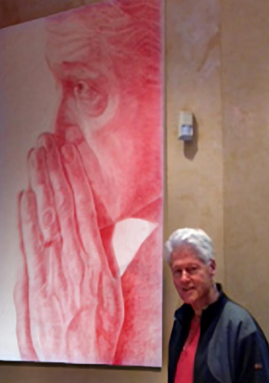 "President Bill Clinton in Chappaqua with ""Praying Hands #1"" Portrait"