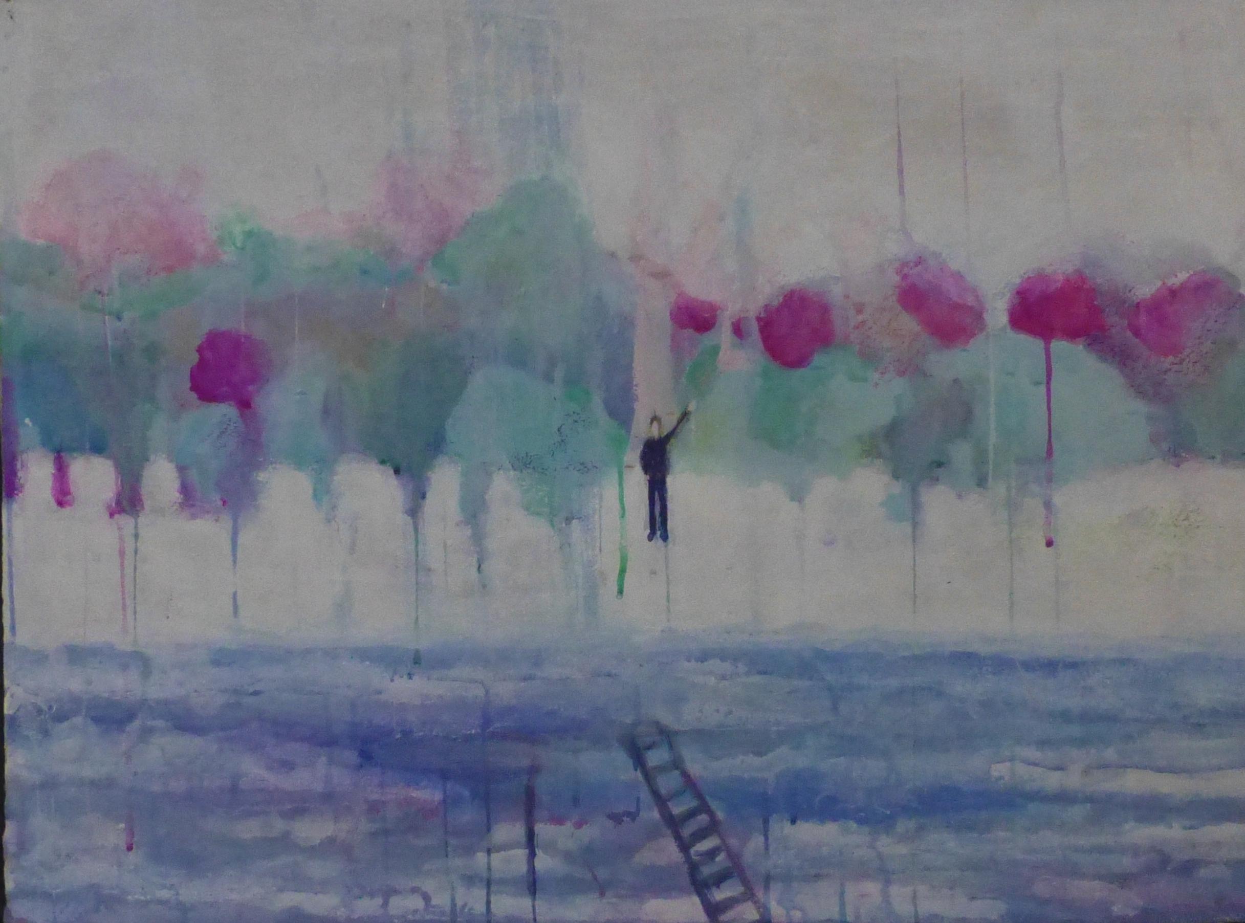 "Horizon 28"" x 22"" Gouache on paper 2015"