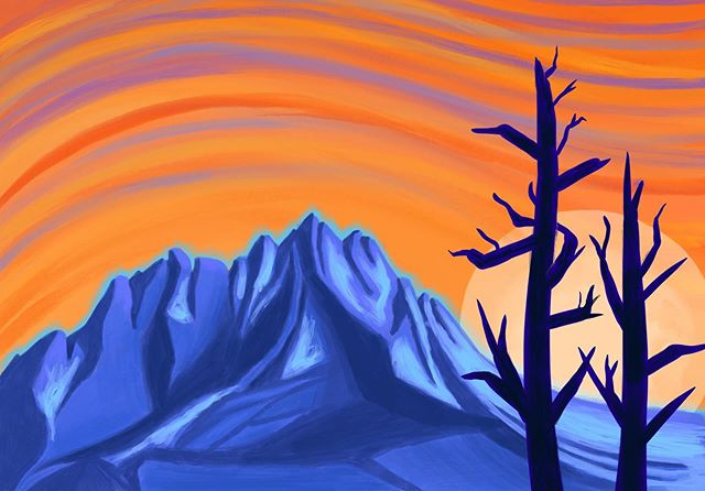 Same landscape, different time of day... Loving this digital medium for playing with colors and layers 😃 #mountainart #digitalillustration #illustration #themountainsarecalling #ipadproart #procreate #sunset #meowntains #sunsetsky #pnwinspired #landscapepainting #landscape #wilderness