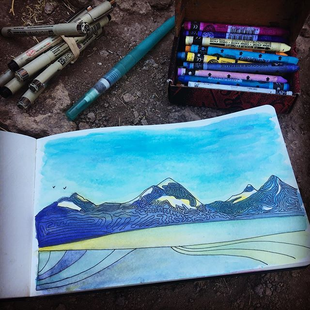 Line drawing + watercolors of the Three Sisters mountains from Mesa Verde wall at Smith Rock State Park, Oregon