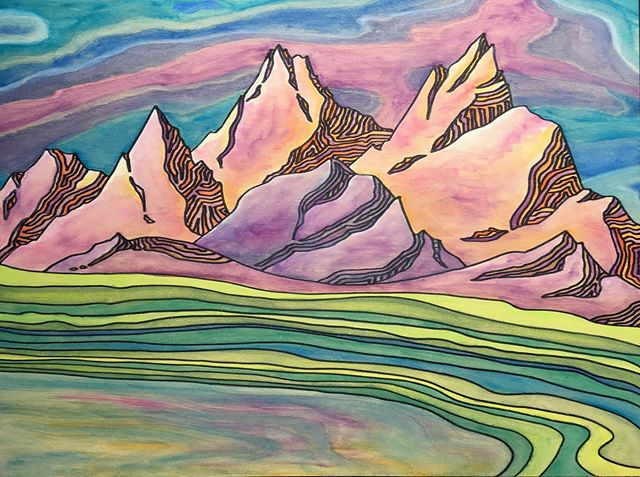 More art from this past weekend. Imaginary mountains in Sharpie and watercolor on wood panel. Had so much fun following the wood grain lines for the sky and foreground.