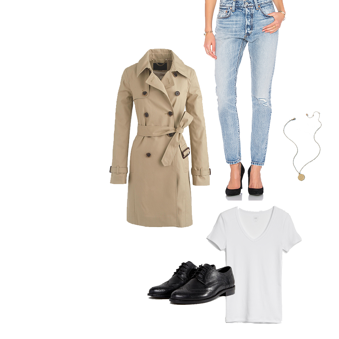 2. The Classic Trench and Black Brogues - There are certain classics that will never go out of style— and the trench coat is right up there with the little black dress. Pair it with a pair Levi's, a white tee,some black brogues, and a delicate gold necklace,and it's the perfect Albion-inspired spring outfit.