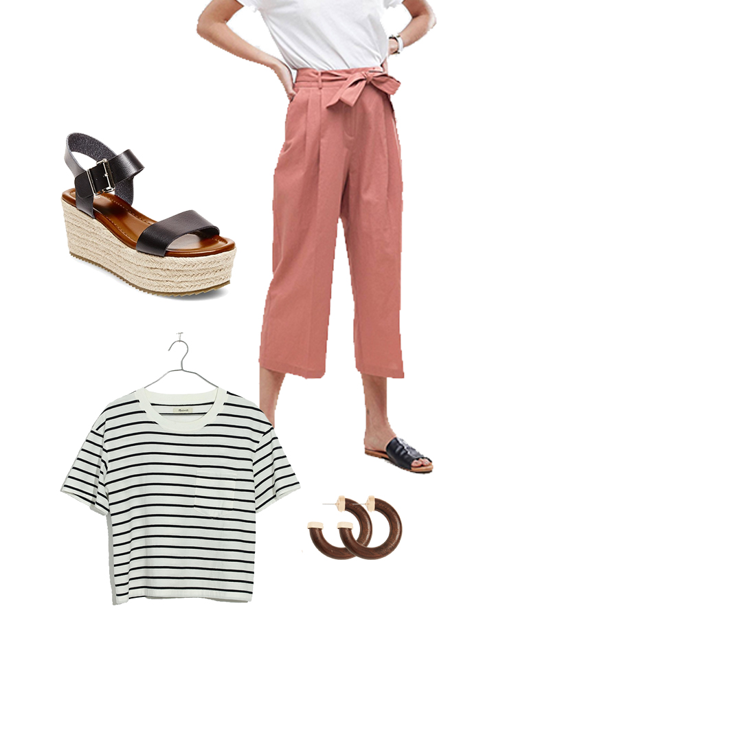 3. The Paper-bag Pant & Striped Tee - I've really been loving the culotte and paper-bag pant trend. Both of these types of pants are deceptively flattering. Don't believe me? Just go and try them on; you'll see what I mean.They are also super comfortable. So basically it's a win-win situation. I've paired these salmon colored ones with a classic striped tee, platform espadrille sandals, and some beautiful wooden hoop earrings.