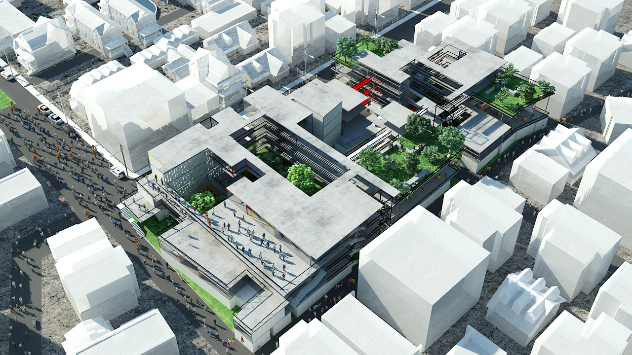Aerial view showing the activation of the top floors, as well as puncturing of the solid masses via courtyard spaces.