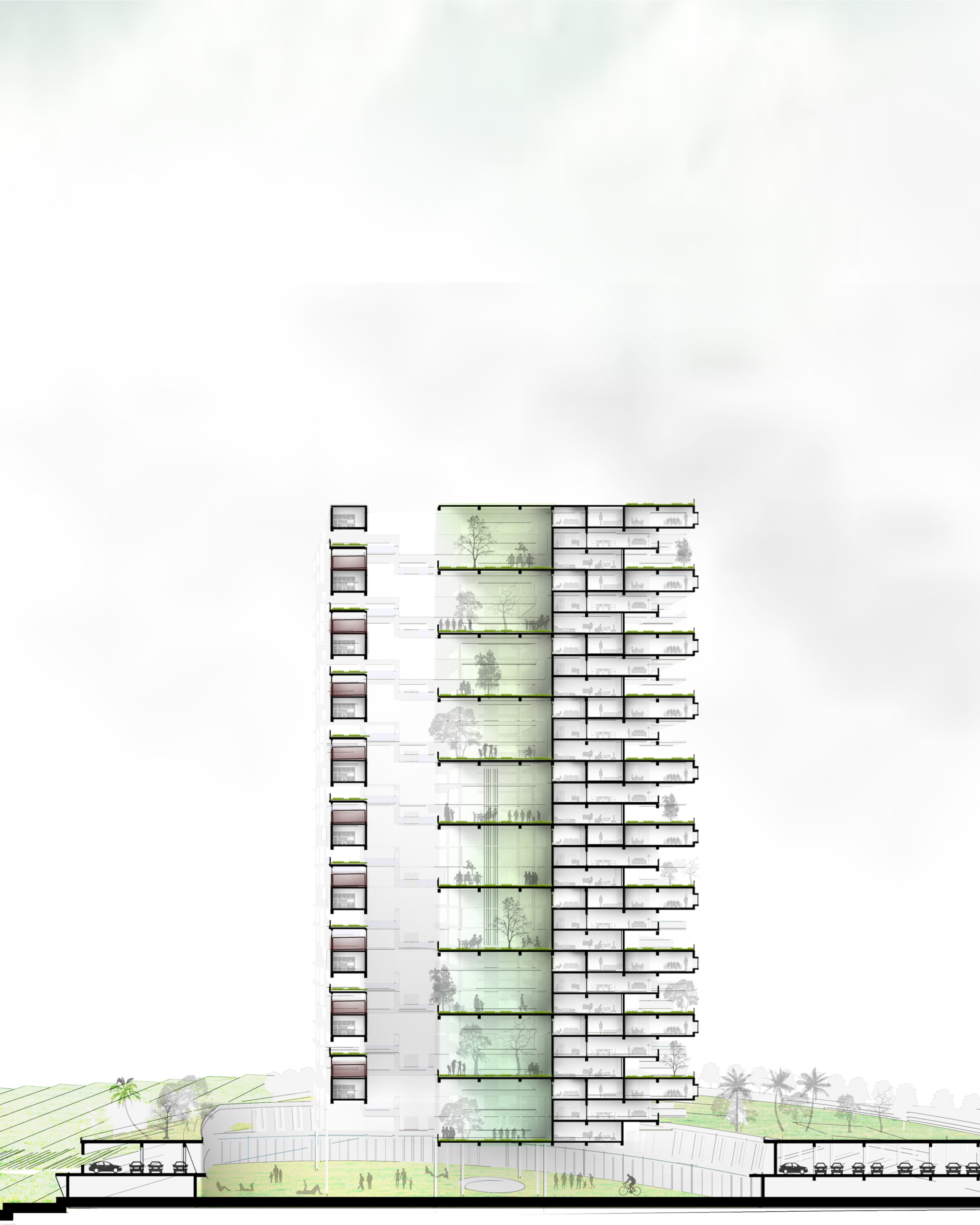Section drawing showing the 22 residential floors above the commercial base, activating the dying marshlands of Pallikaranai.