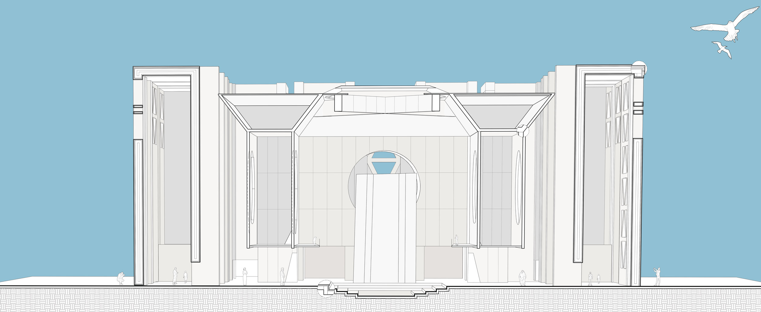 Sectional perspective drawing showing the quality of space.